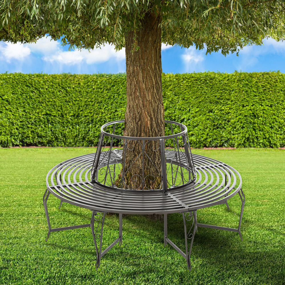 Garden tree bench seat round steel circular antique furniture half anthracite ebay Circular tree bench