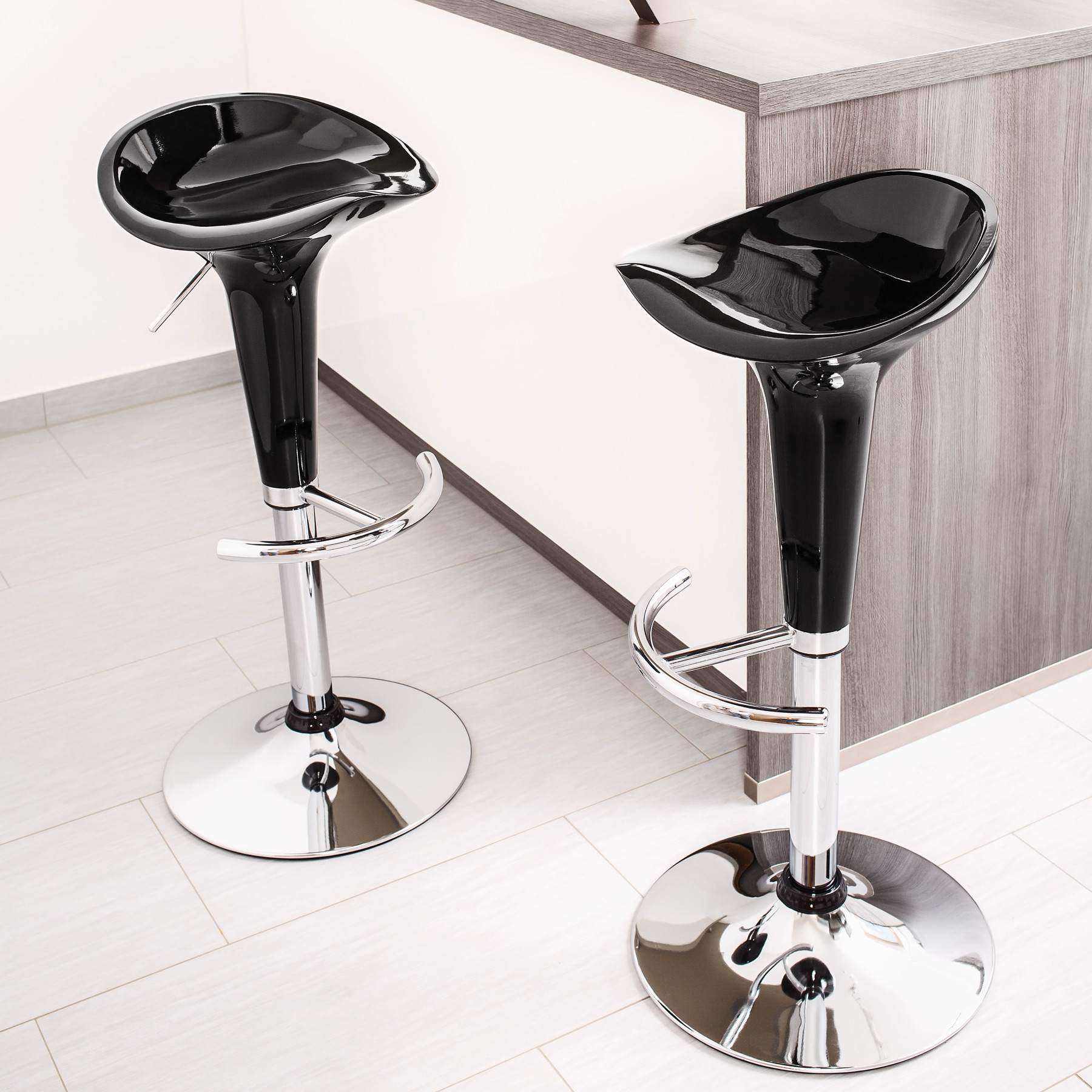 Black Kitchen Bar Stools Uk: 2 Bar Stools Set Kitchen Breakfast Stool Dining Chair