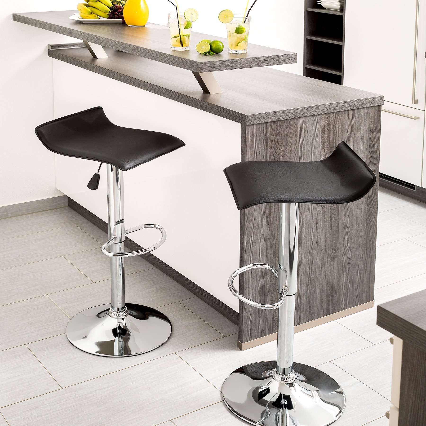 tabouret de bar lot de 2 chaise fauteuil bistrot r glable. Black Bedroom Furniture Sets. Home Design Ideas
