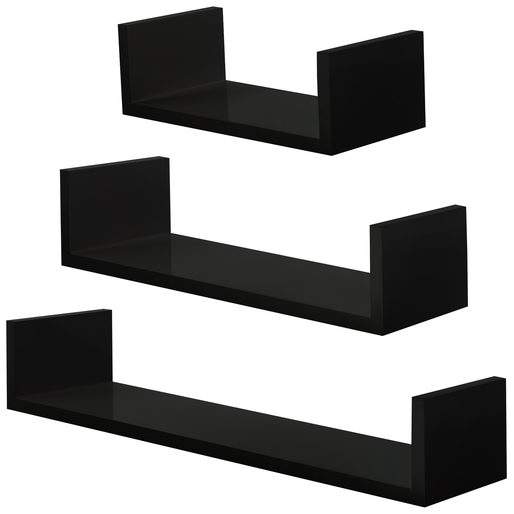 black shelves set wall mounted bookshelf decorative storage self high gloss wood ebay. Black Bedroom Furniture Sets. Home Design Ideas
