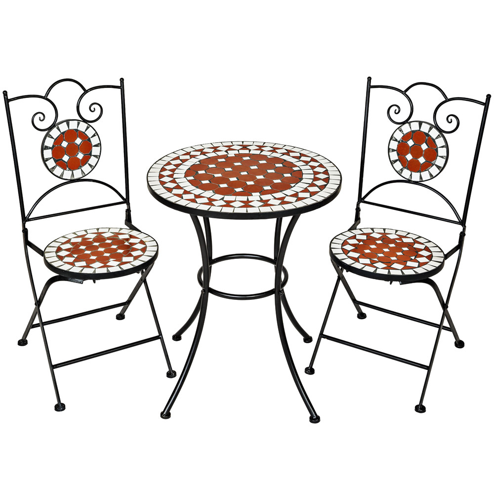 mosaic garden table with 2 chairs outdoor furniture set decor terracotta pottery. Black Bedroom Furniture Sets. Home Design Ideas