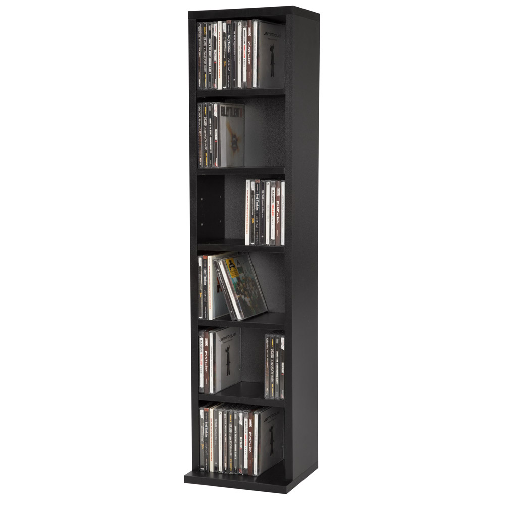 cd dvd storage tower rack for 102 cds unit shelf organiser archieve wood black ebay. Black Bedroom Furniture Sets. Home Design Ideas