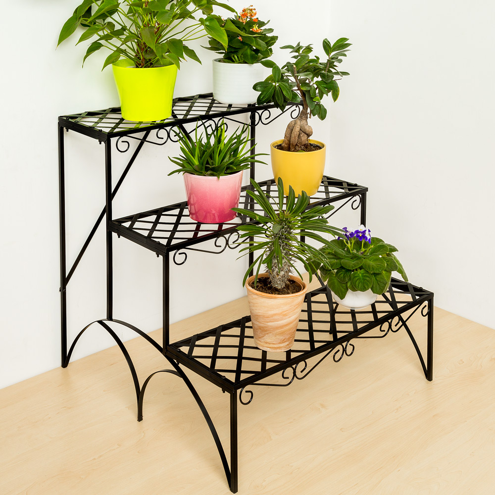 3 tier metal garden plant pot display shelf stand flower. Black Bedroom Furniture Sets. Home Design Ideas