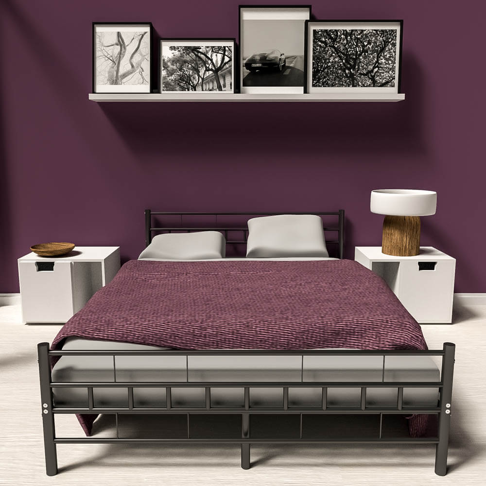 lit en m tal design double 2 places cadre de lit sommier lattes. Black Bedroom Furniture Sets. Home Design Ideas