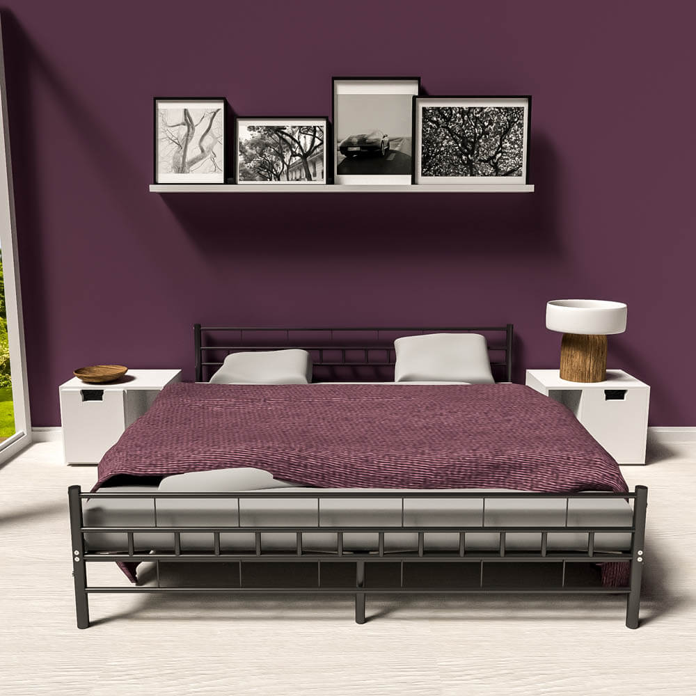 Double Metal Bed Frame King Size Modern Bedroom 180x200cm