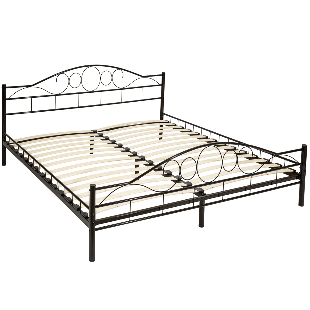 double metal bed frame king size modern luxury 180x200cm. Black Bedroom Furniture Sets. Home Design Ideas