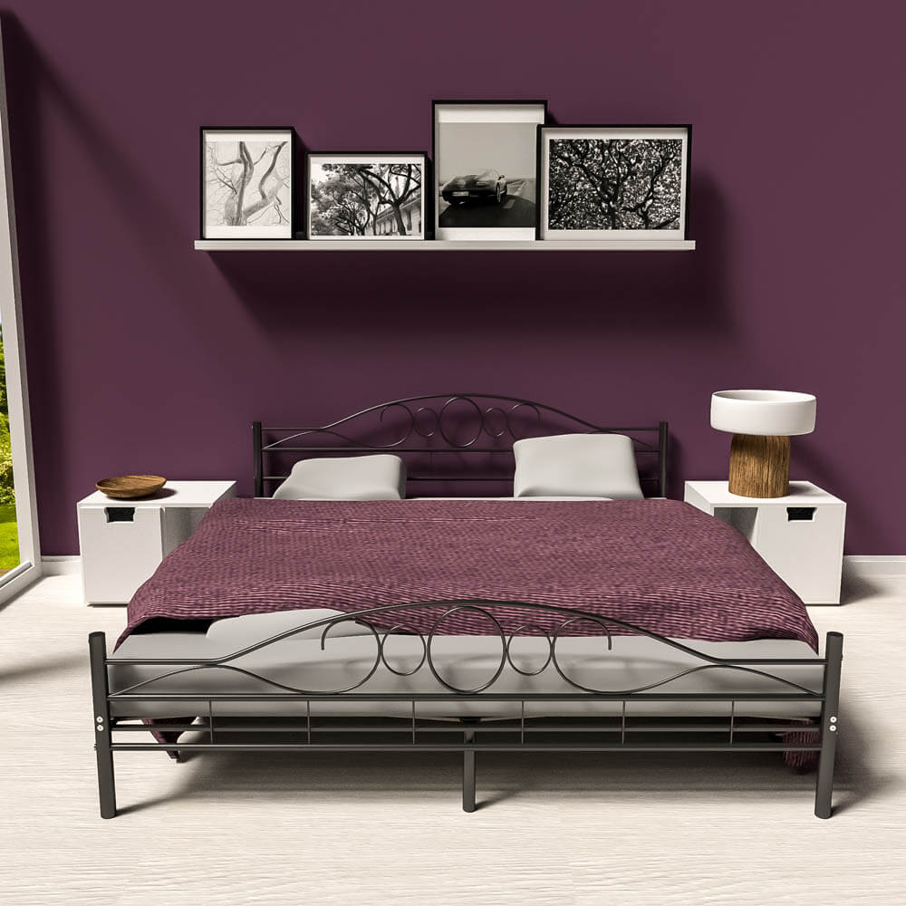Double Metal Bed Frame King Size Modern Luxury 180x200cm
