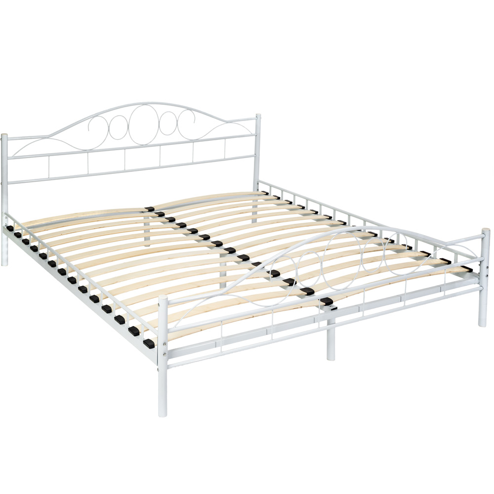 double metal bed frame king size modern luxury 180x200cm white slatted frame. Black Bedroom Furniture Sets. Home Design Ideas