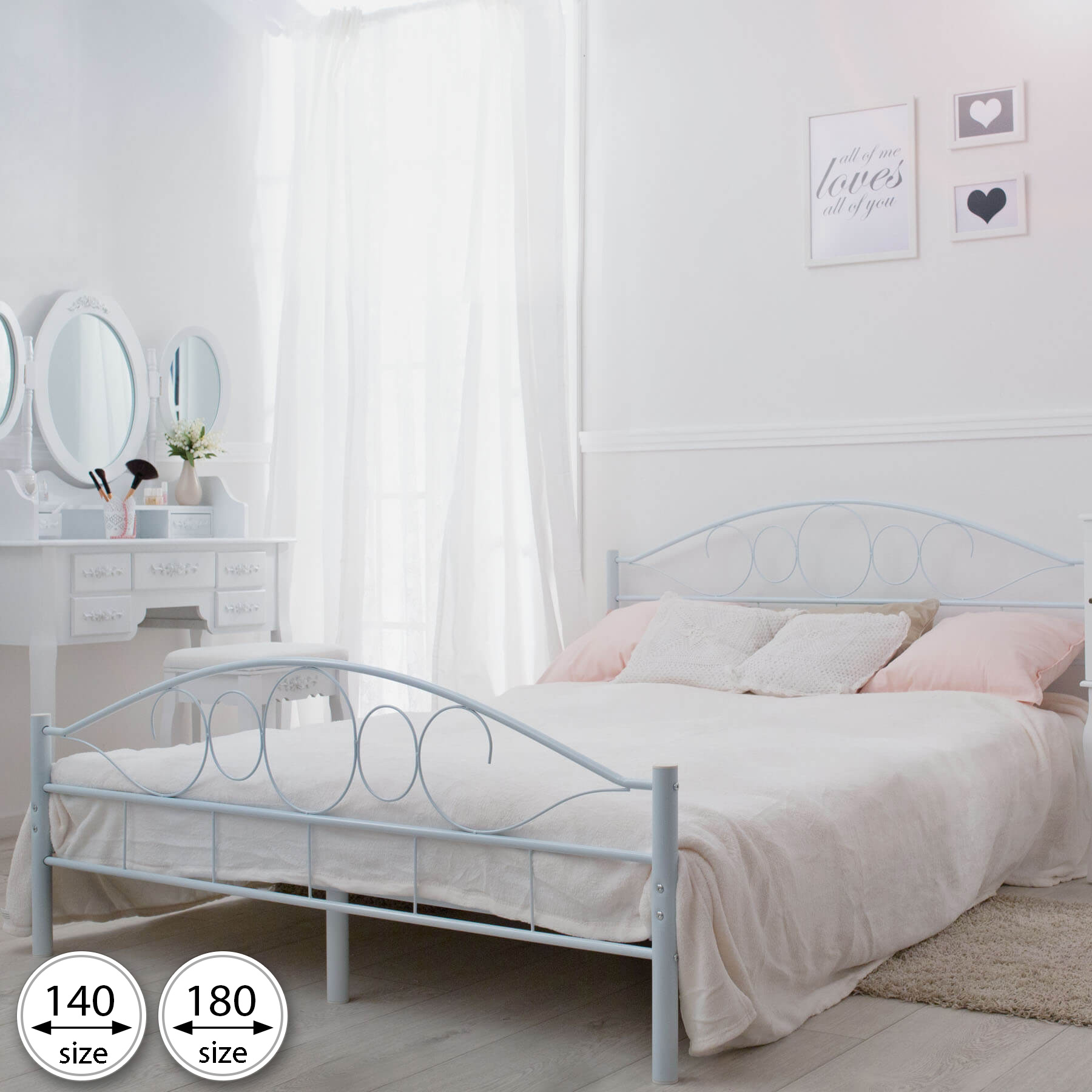 lit en m tal double 2 places cadre de lit sommier. Black Bedroom Furniture Sets. Home Design Ideas