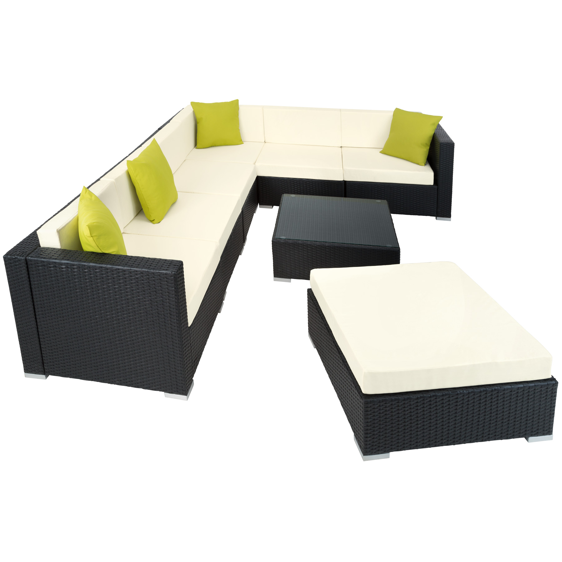 Ensemble Salon De Jardin Aluminium R Sine Tress E Poly Rotin Table Sofa Noir Ebay