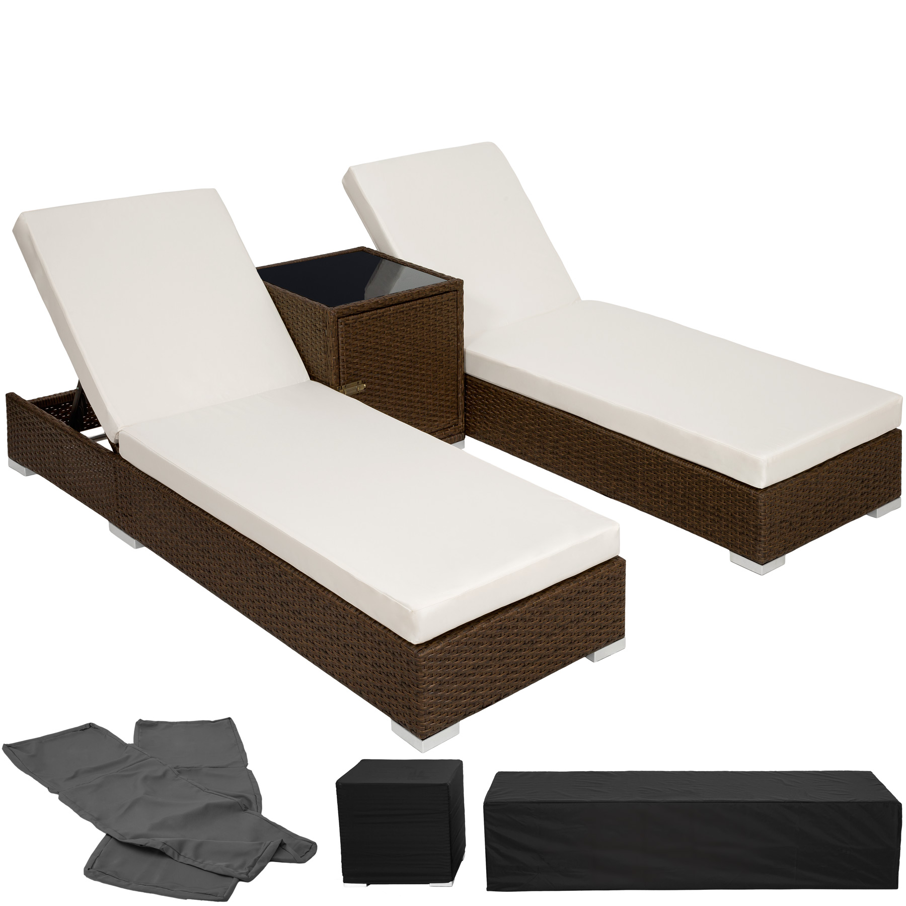 2x alu polyrattan sonnenliege tisch gartenliege rattan liege gartenm bel. Black Bedroom Furniture Sets. Home Design Ideas