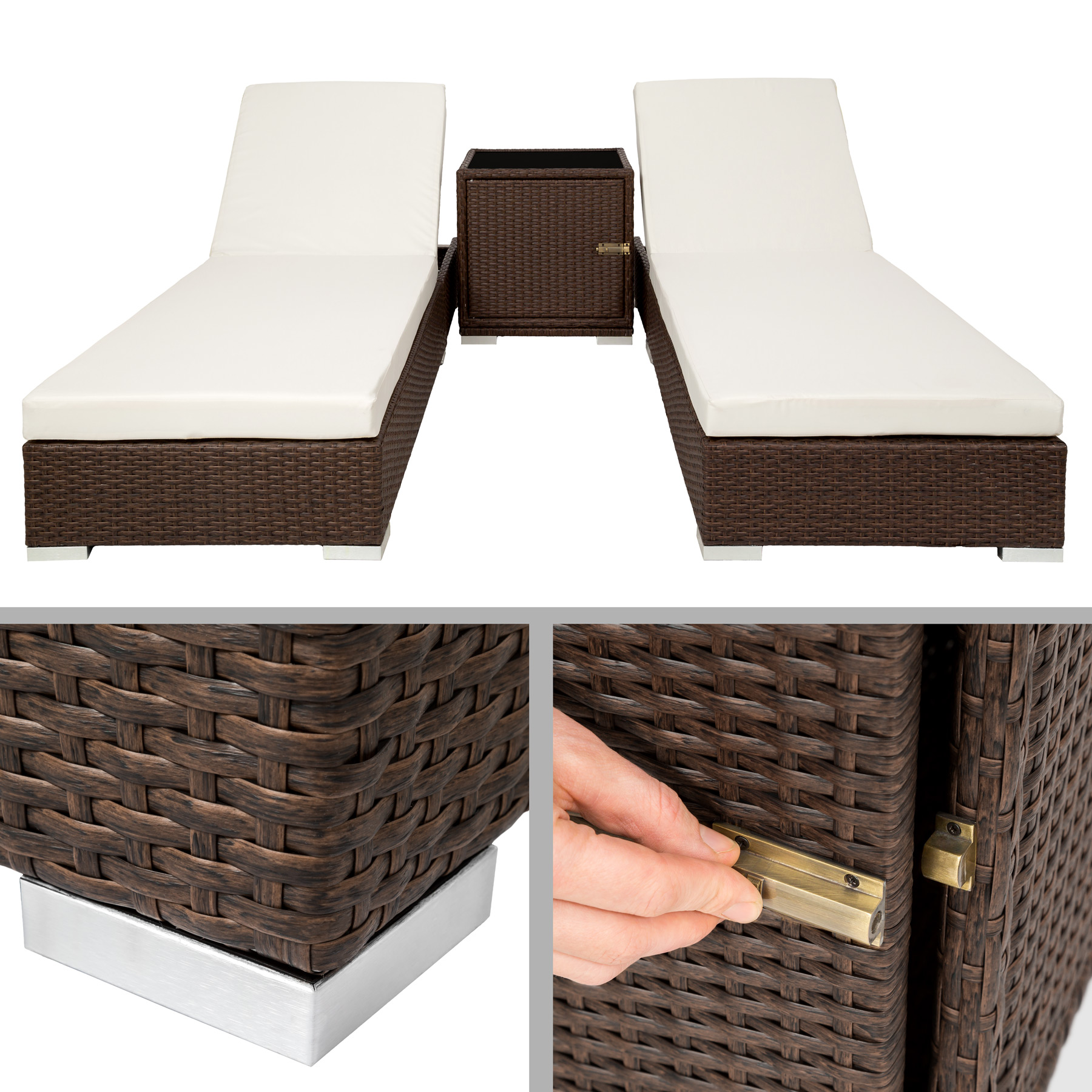 2x alu polyrattan sonnenliege tisch gartenliege rattan gartenm bel set antik. Black Bedroom Furniture Sets. Home Design Ideas