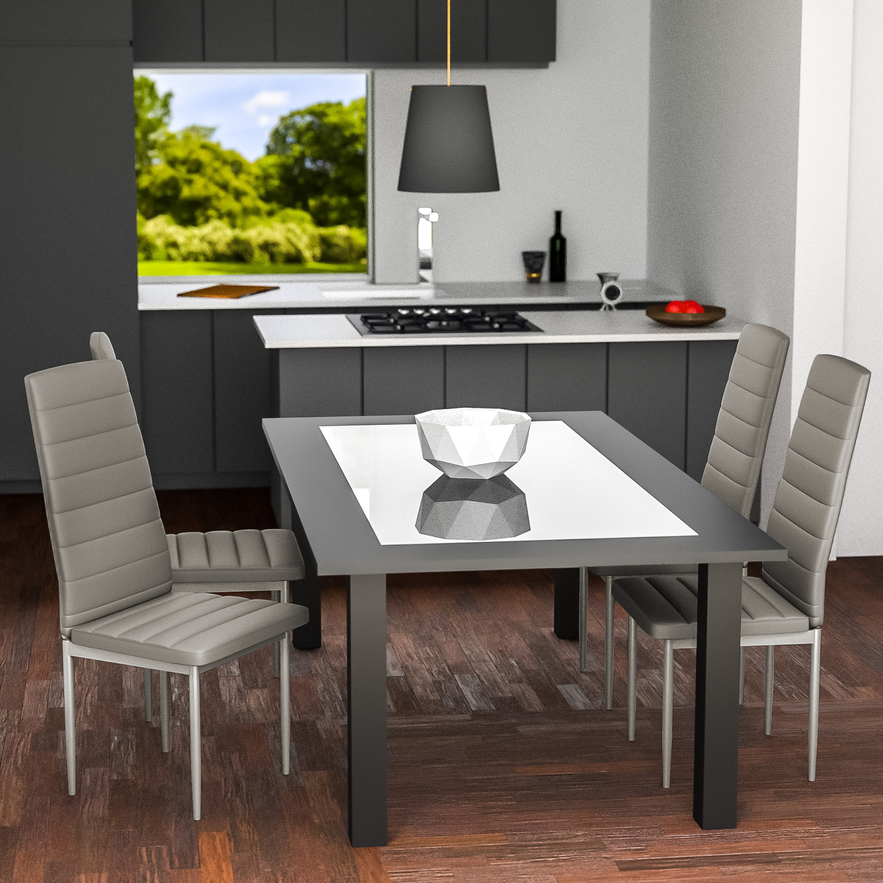 6 modern dining chairs dining room chair table faux - Table de cuisine grise ...