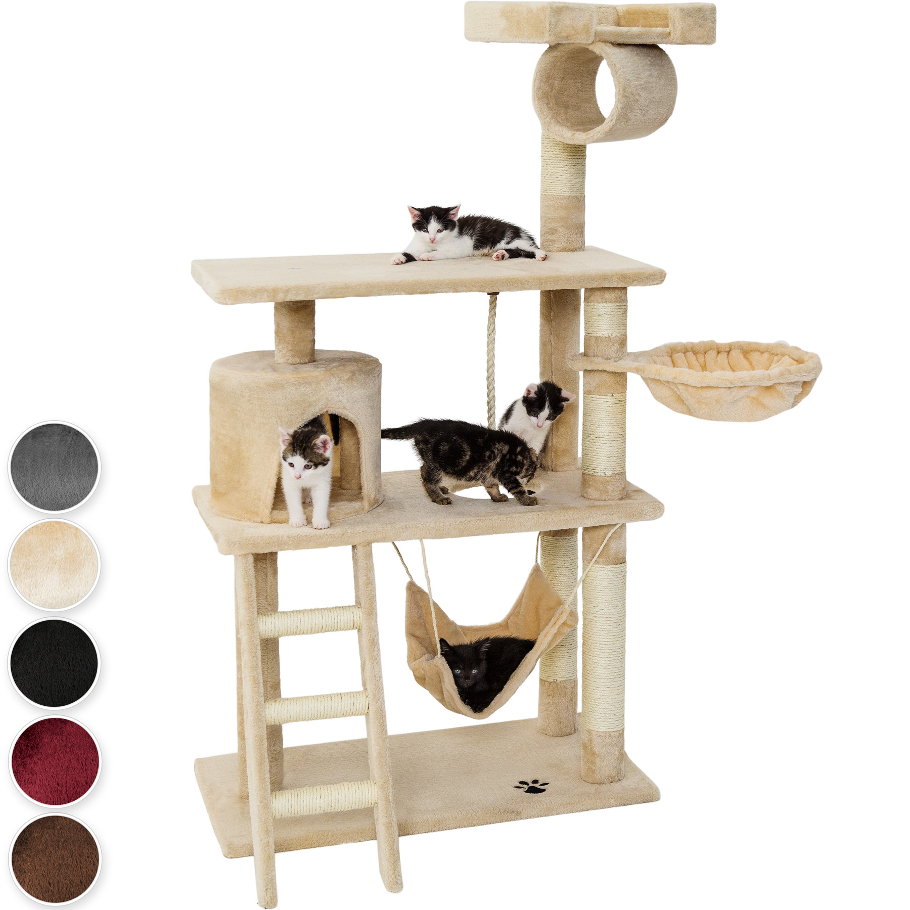 arbre chat griffoir grattoir animaux geant avec hamac lit 141 cm hauteur beige ebay. Black Bedroom Furniture Sets. Home Design Ideas