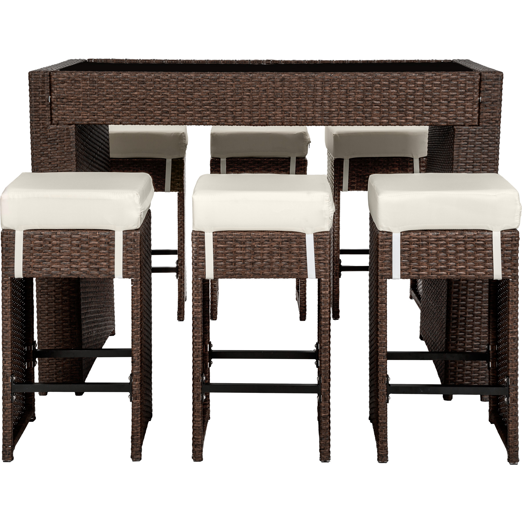 polyrattan aluminium barset tisch 6 barhocker rattan bar theke poolbar antik. Black Bedroom Furniture Sets. Home Design Ideas