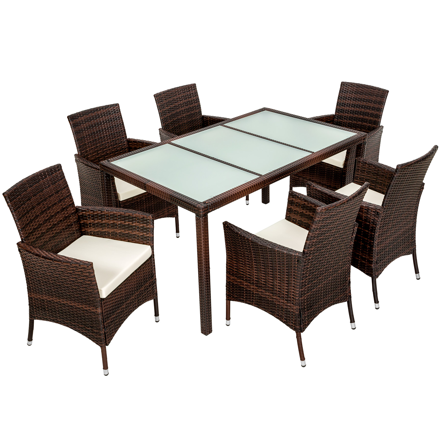 6 Seater Rattan Garden Furniture Dining Set Chairs Table Outdoor Wicker Brown Ebay