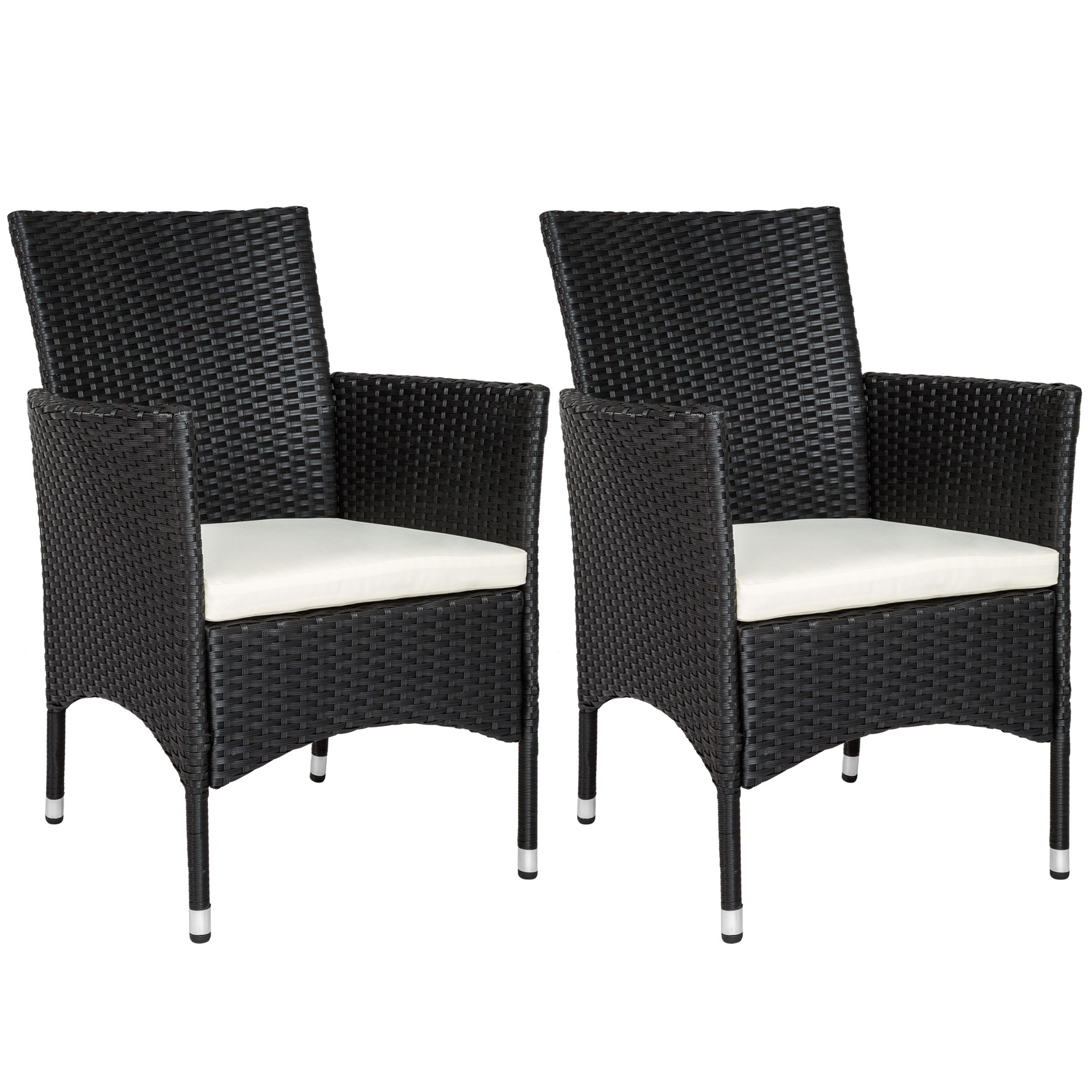 2er set polyrattan st hle gartenstuhl sessel rattanstuhl stuhl schwarz b ware ebay. Black Bedroom Furniture Sets. Home Design Ideas