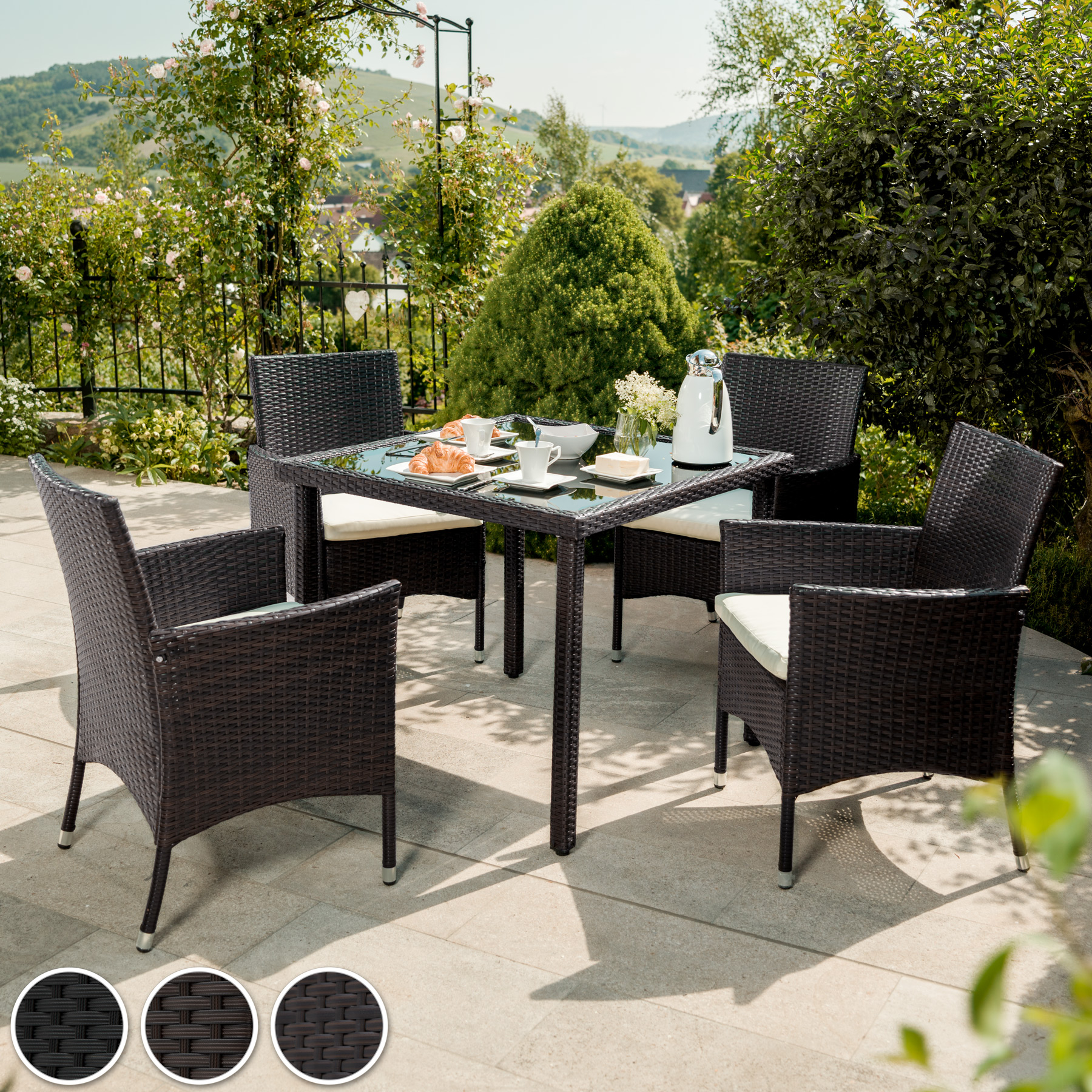 4 Seater Table Rattan Garden Furniture Dining Chairs Set