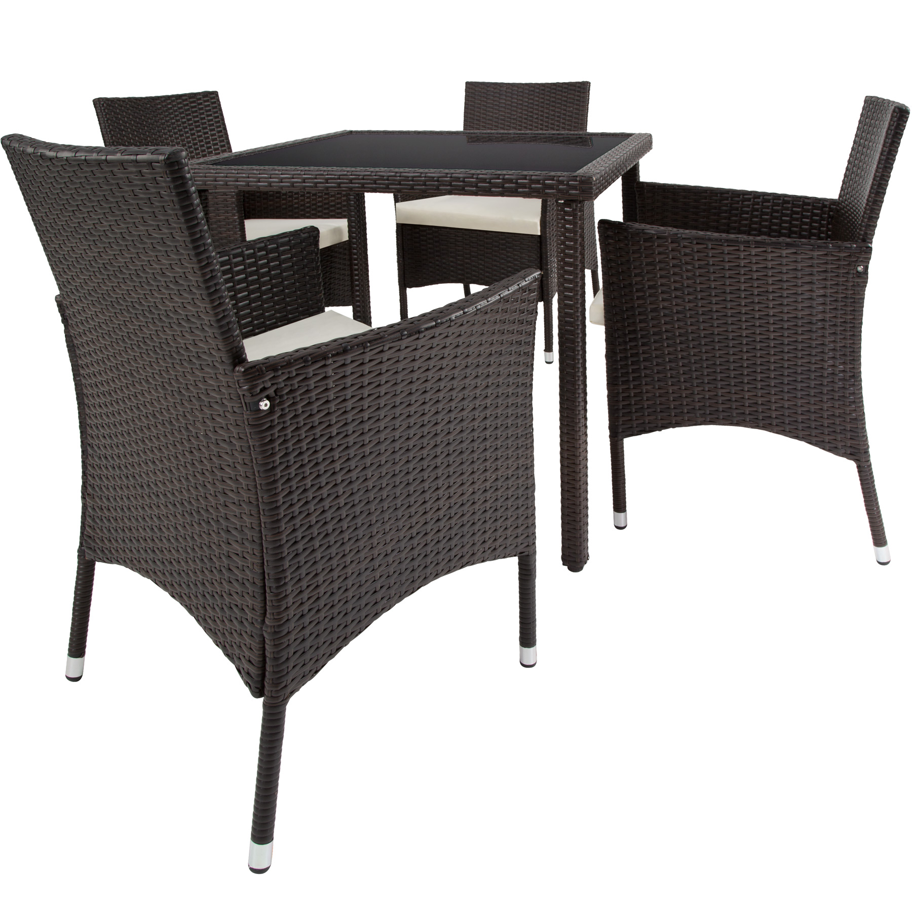 4 seater table rattan garden furniture dining chairs set for Sofas a medida sevilla