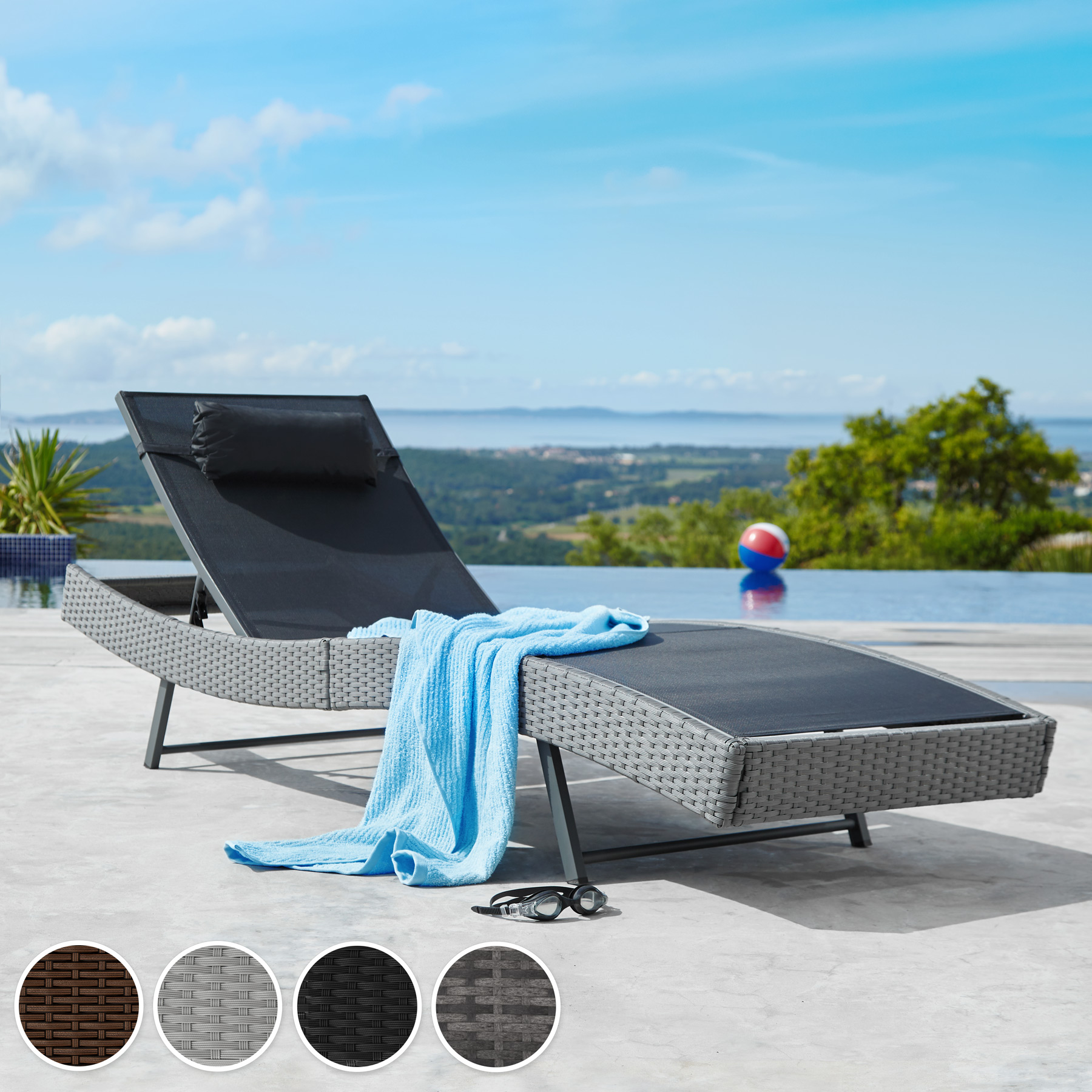 chaise longue bain de soleil meuble de jardin en poly rotin transat coussin. Black Bedroom Furniture Sets. Home Design Ideas