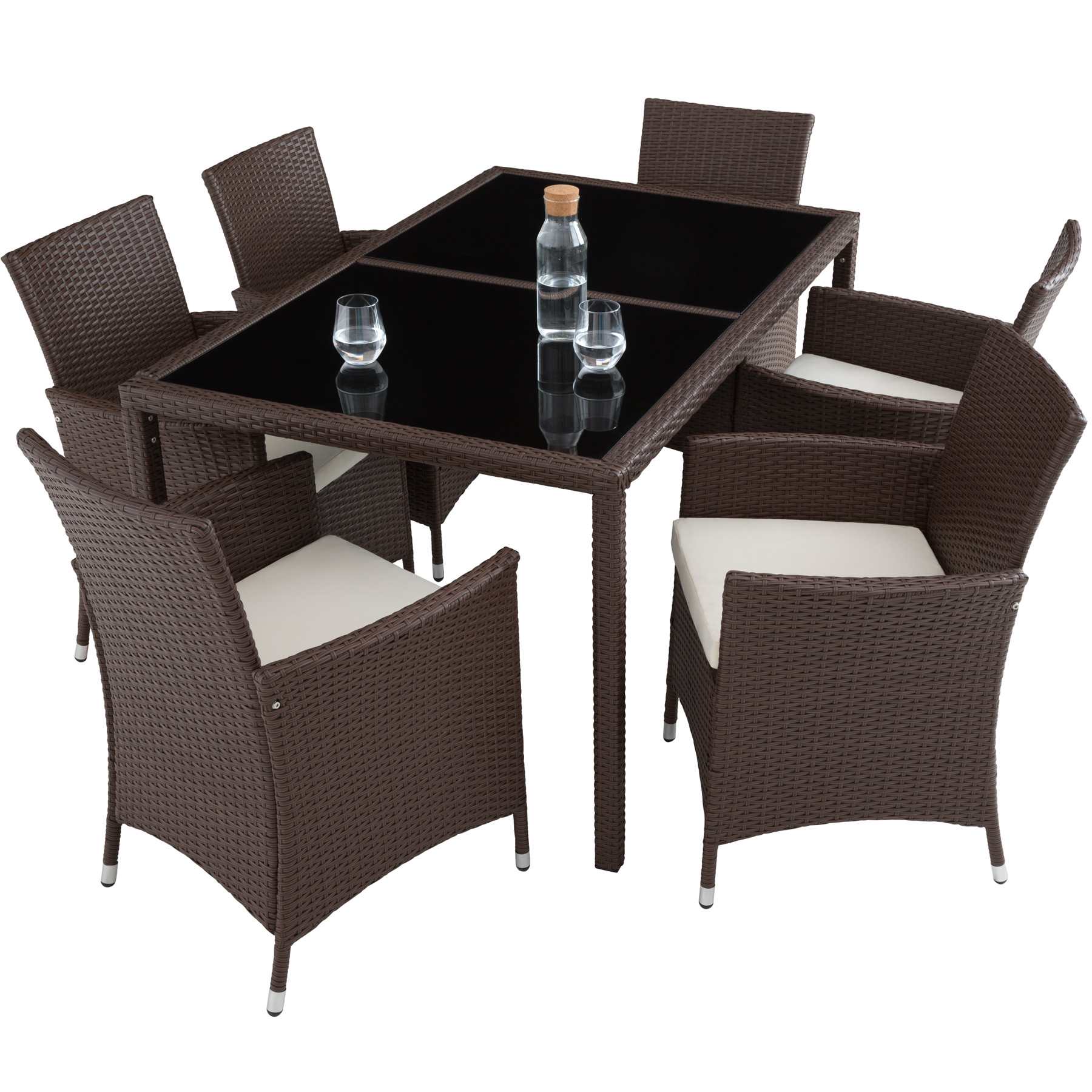 6 1 rattan garden furniture set 6 chairs table dining. Black Bedroom Furniture Sets. Home Design Ideas