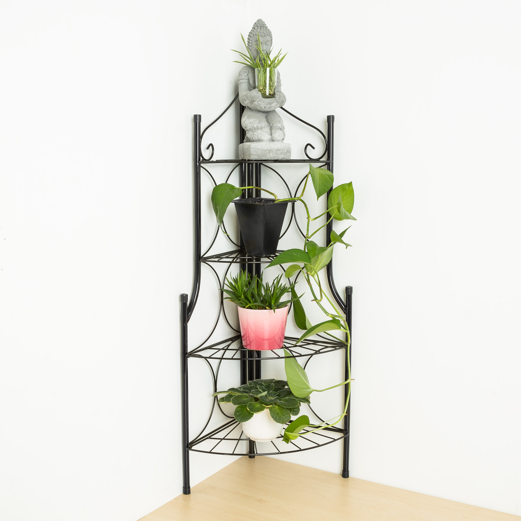 4 tier metal garden plant pot display shelf stand flower patio deck in outdoor ebay. Black Bedroom Furniture Sets. Home Design Ideas