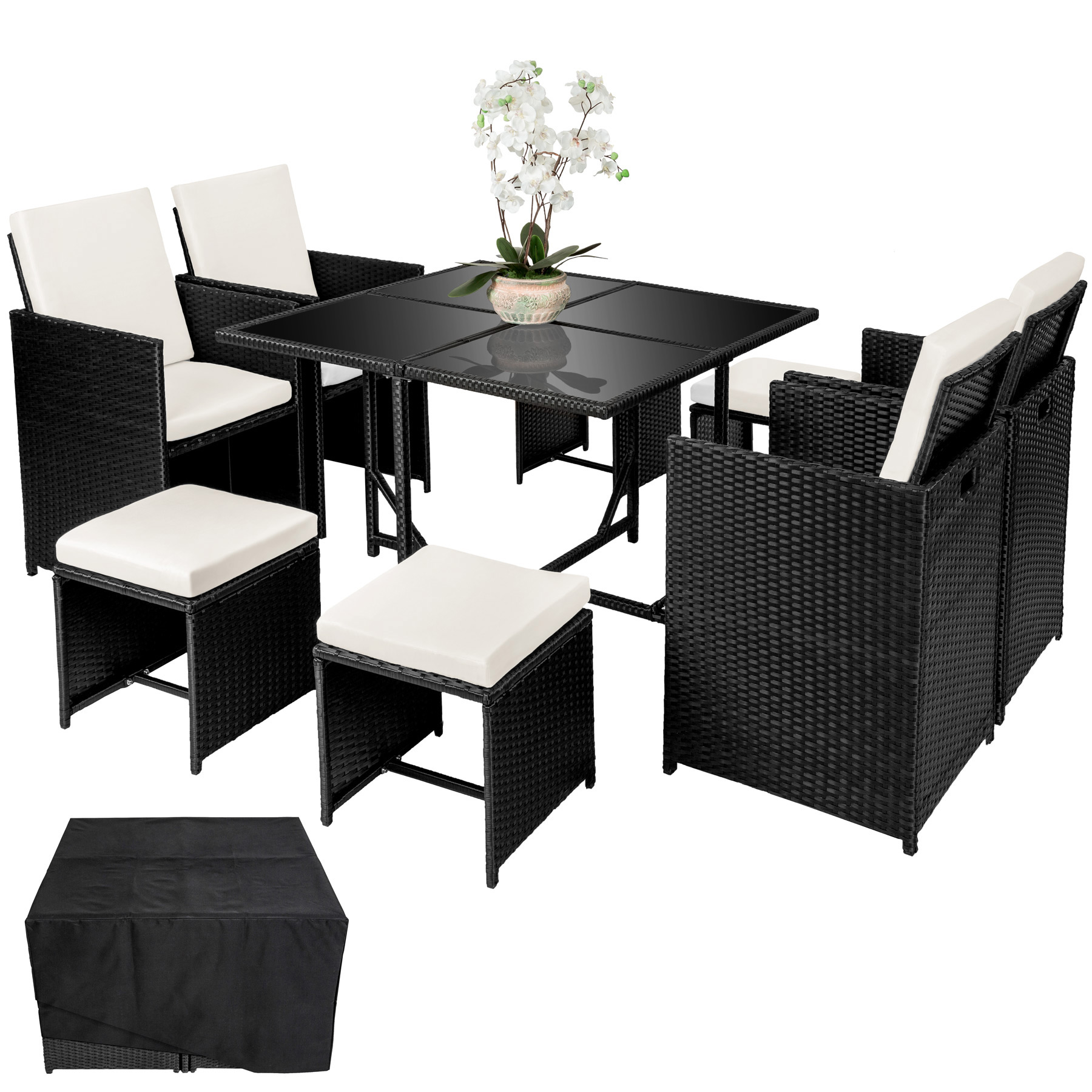 poly rattan sitzgarnitur gartenm bel essgruppe cube lounge set 4 st hle b ware ebay. Black Bedroom Furniture Sets. Home Design Ideas