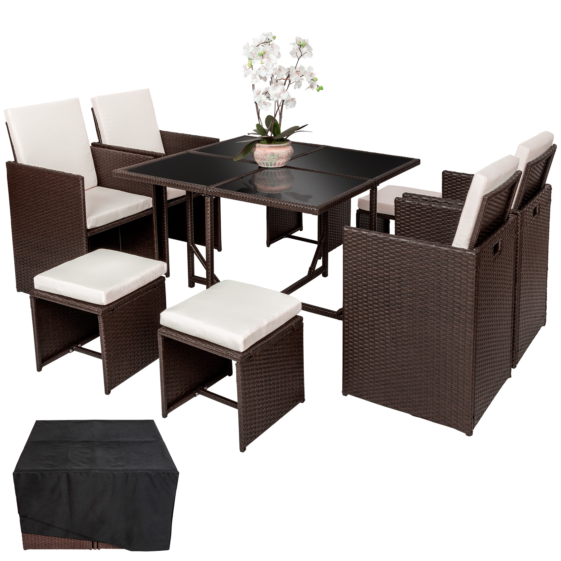 rattan garden furniture set cube dining wicker 8 seater table cushions