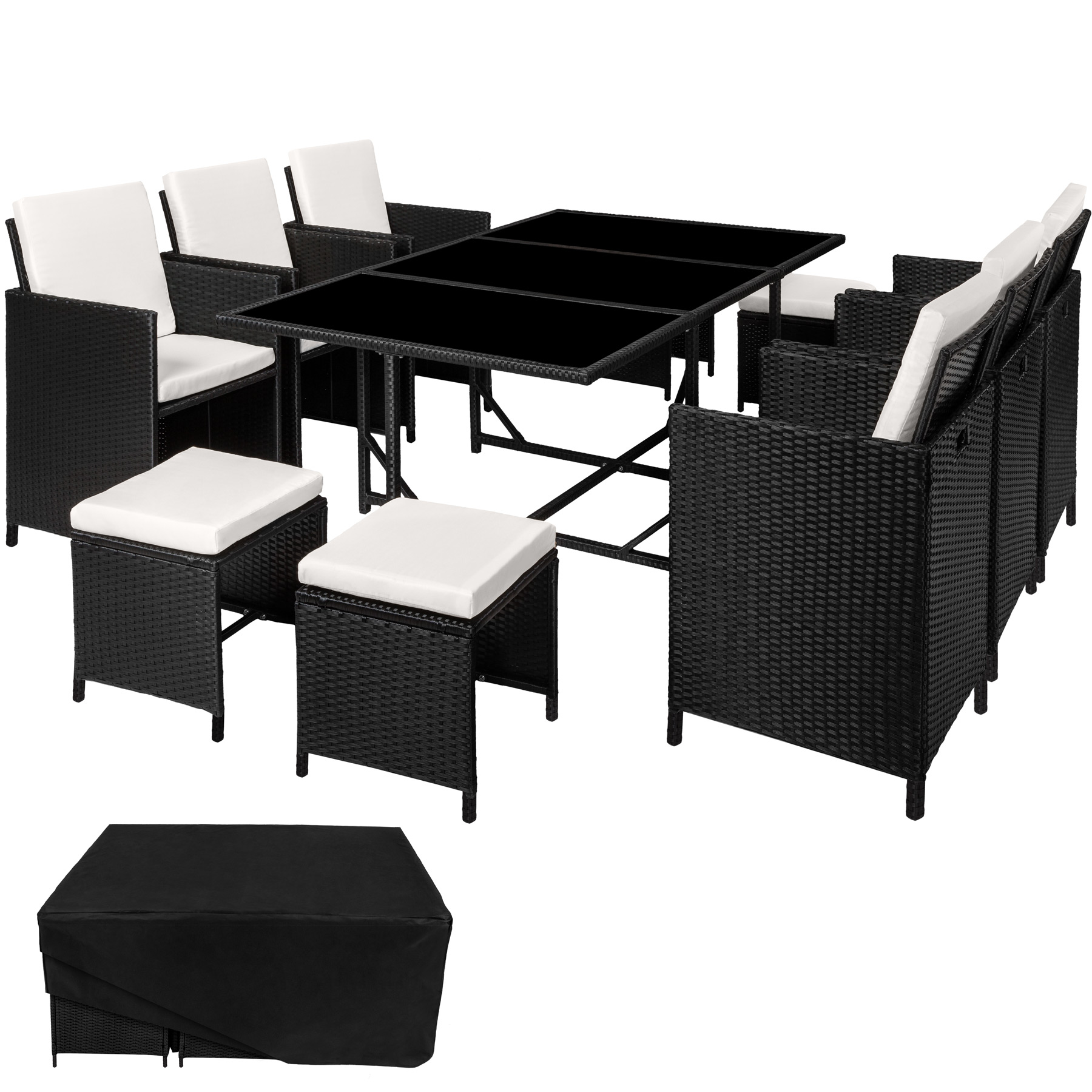 garden furniture set dining wicker 10 seater chair stool table black