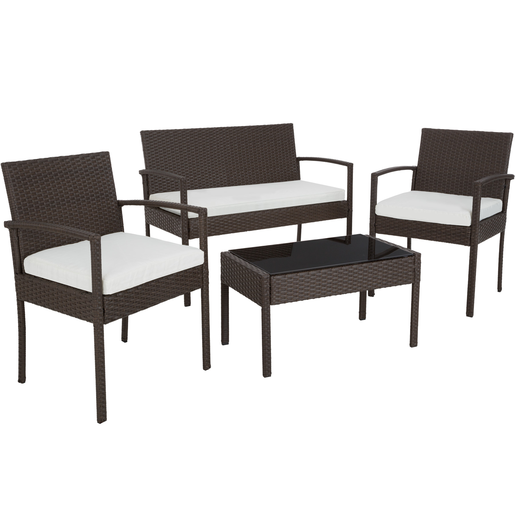 poly rattan garden furniture chairs bench table set. Black Bedroom Furniture Sets. Home Design Ideas