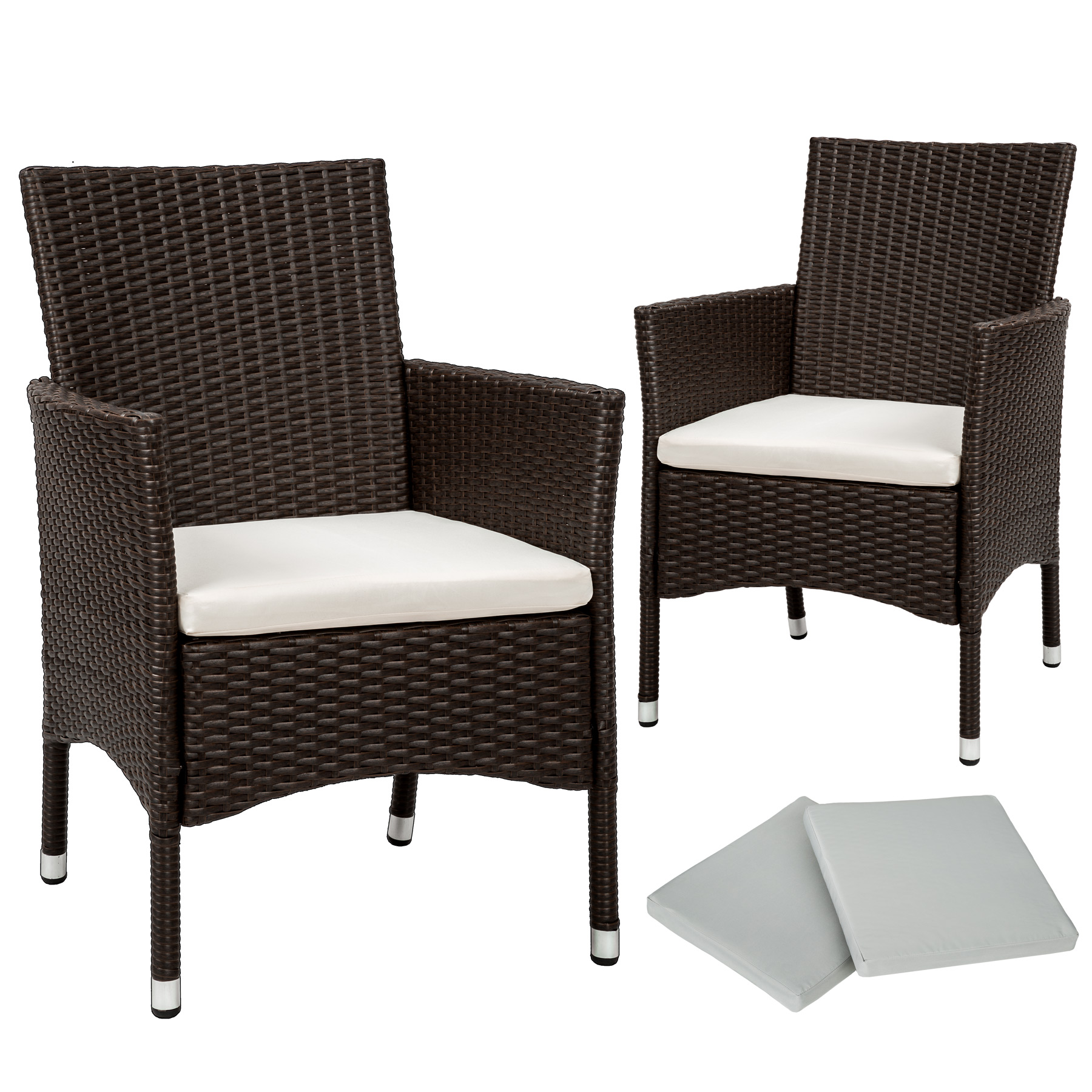 2 x poly rattan garden chairs wicker outdoor armchair set - Chaise resine tressee ...