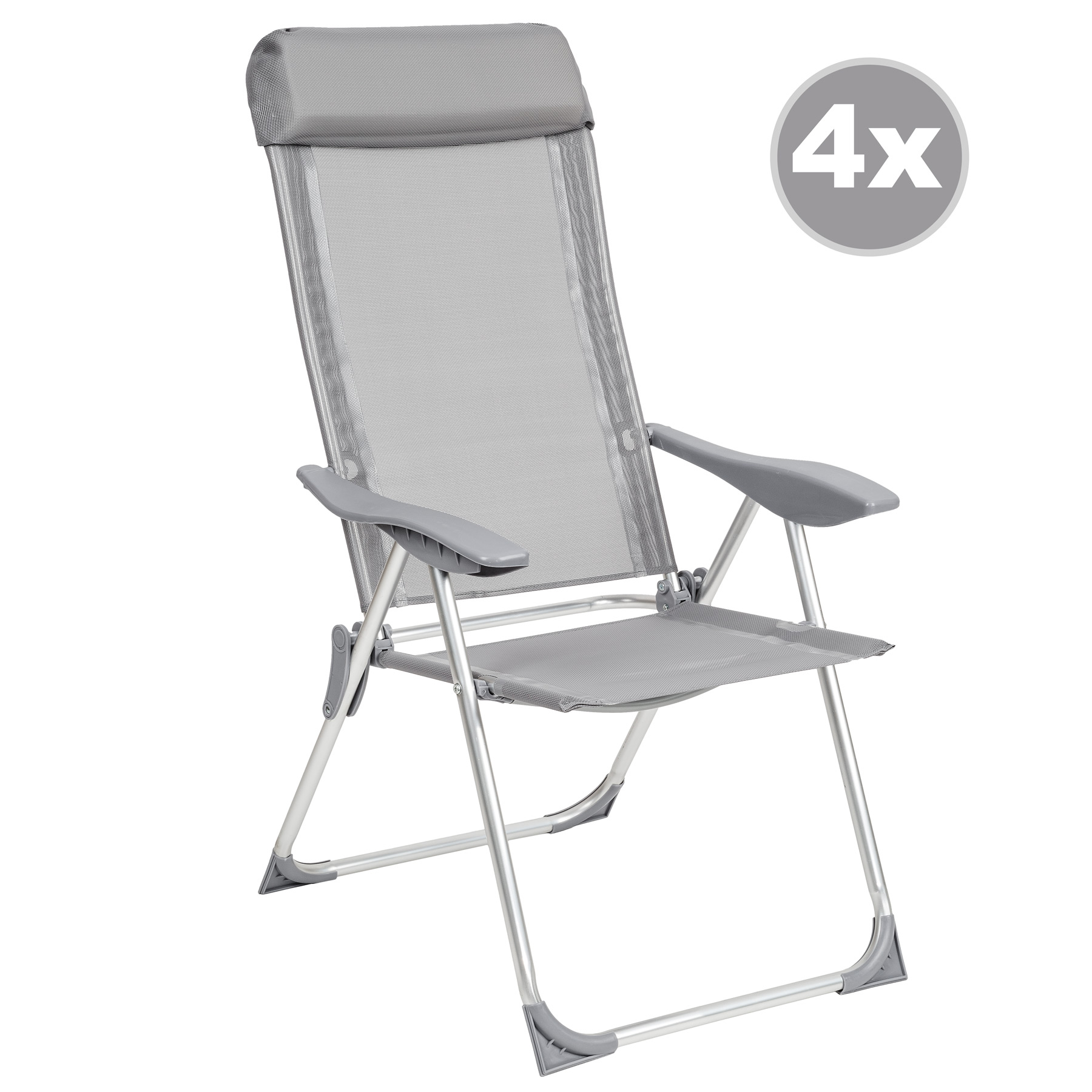 lot de 4 chaises de jardin aluminium pliante camping terrasse balcon gris nouvea ebay. Black Bedroom Furniture Sets. Home Design Ideas