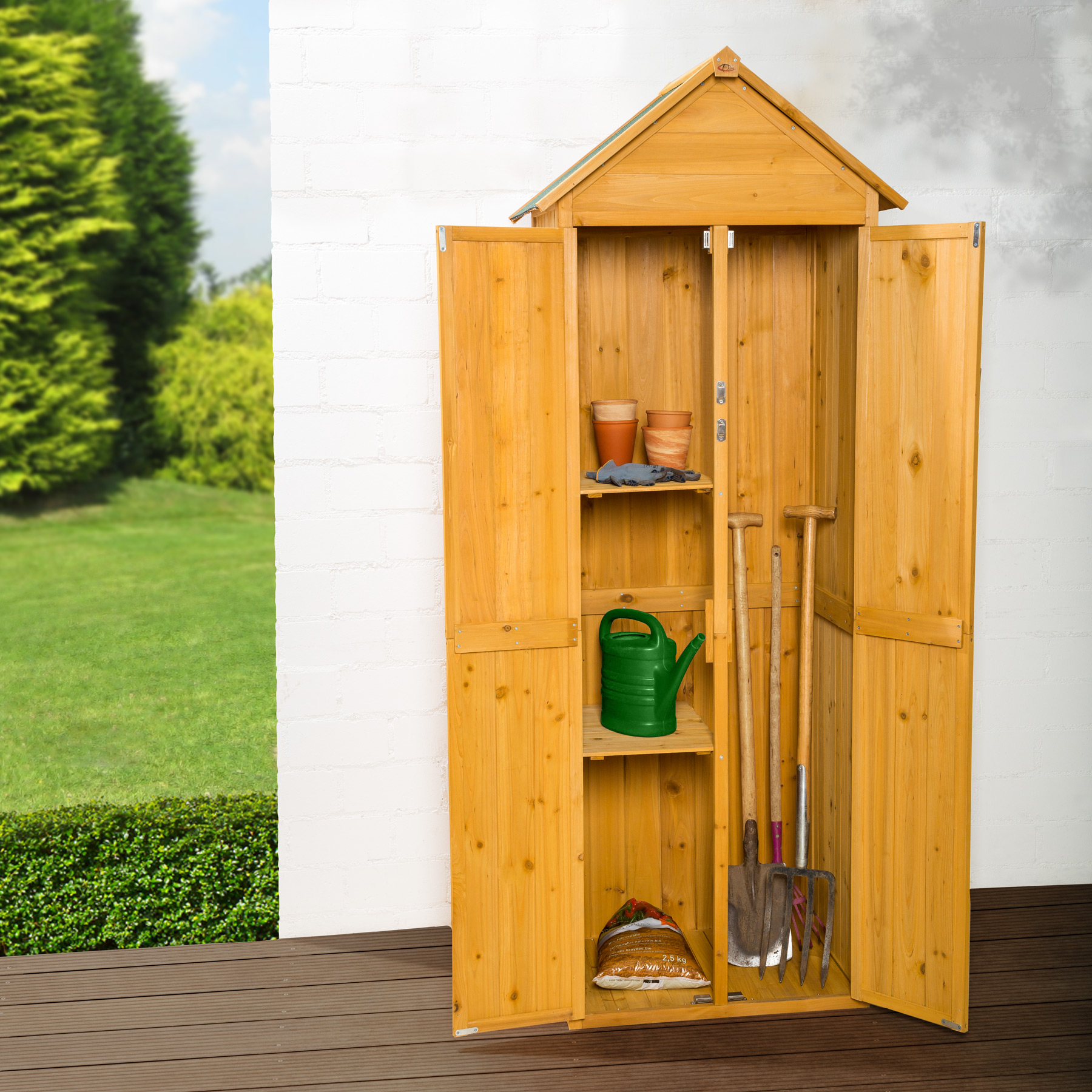 Wooden outdoor garden cabinet utility storage tools shelf box shed piched roof - Armoire de jardin solide ...