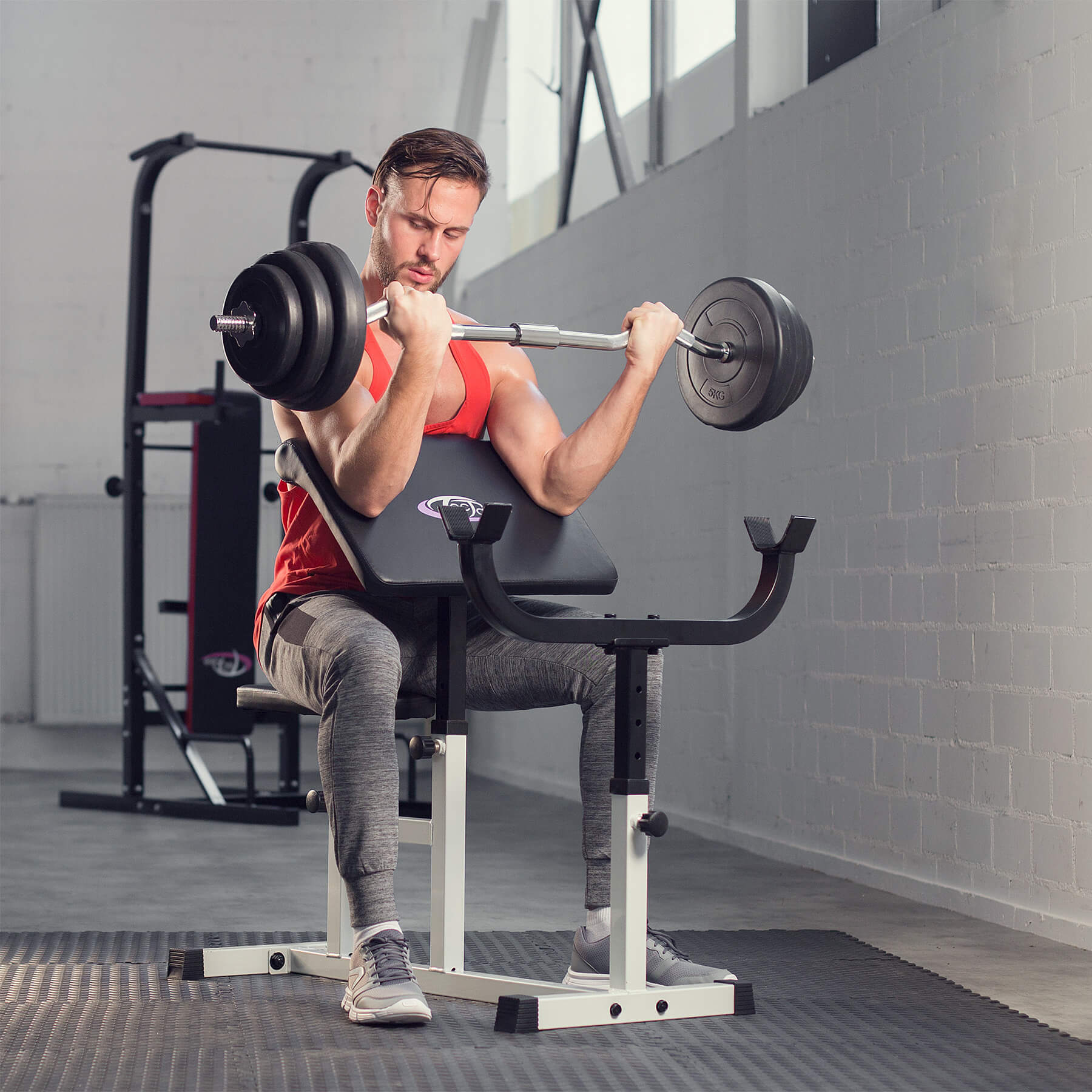 Preacher bicep arm curl bench training seated workout ...  Preacher Curls At Home