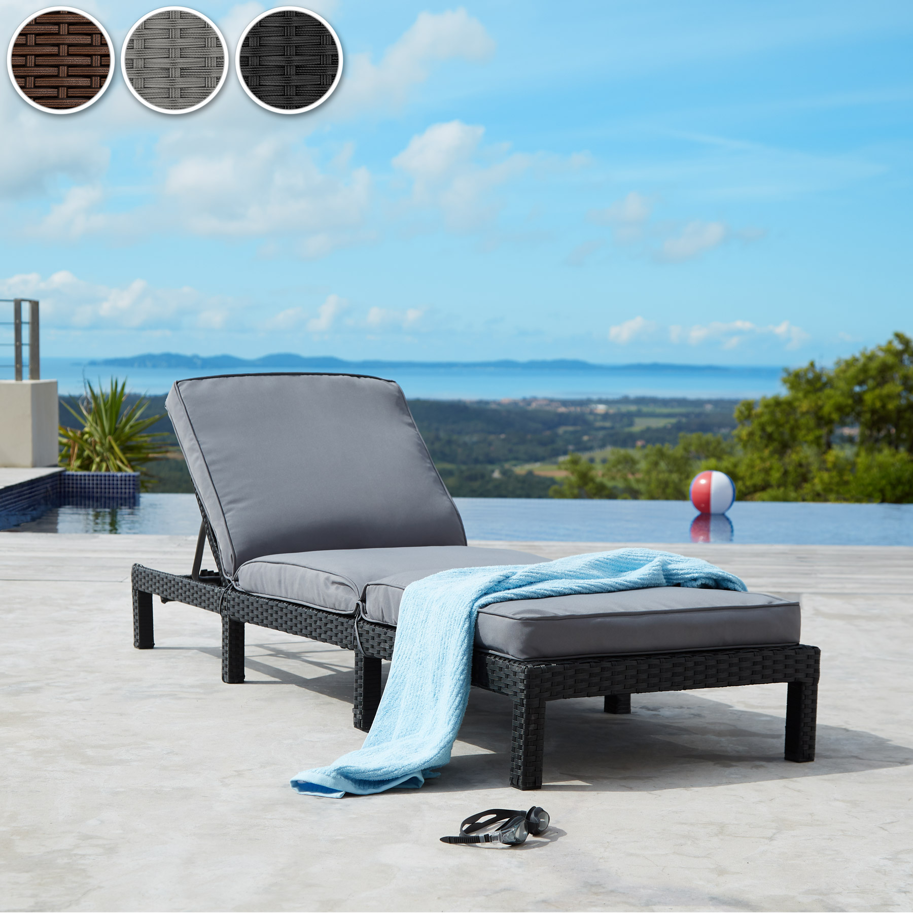 polyrattan sonnenliege gartenliege relaxliege rattanliege strandliege schwarz ebay. Black Bedroom Furniture Sets. Home Design Ideas