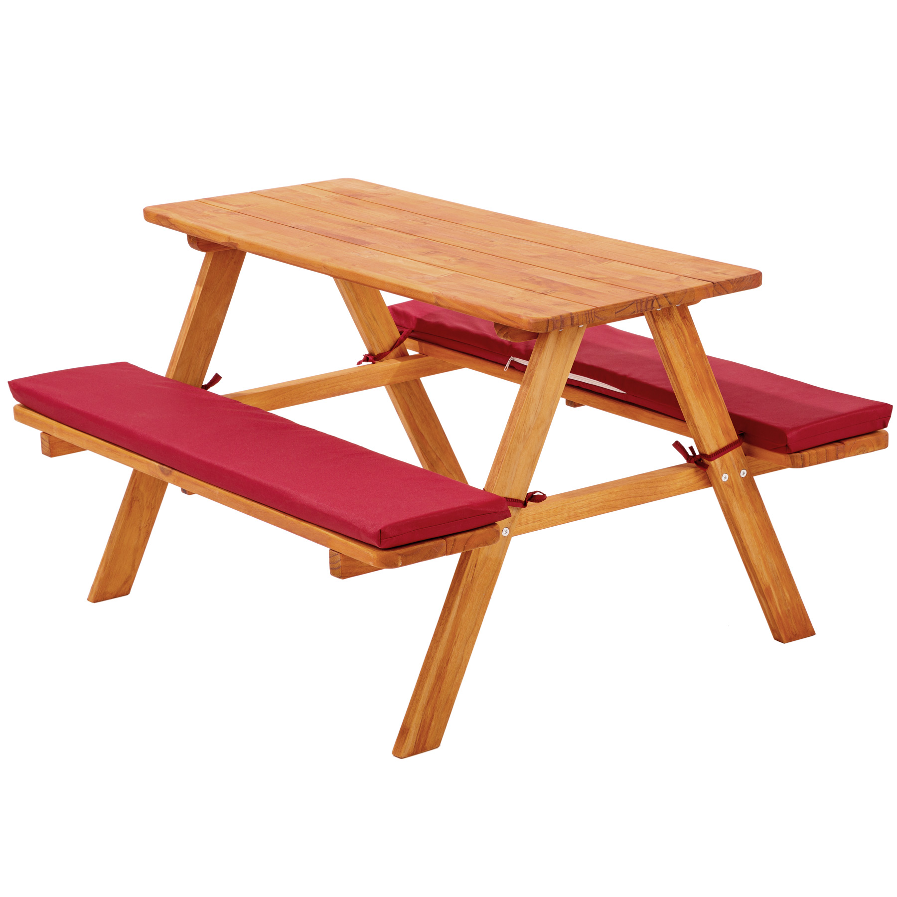 Kids Picnic Table Bench Set Childrens Wood Garden Furniture With Cushions Red Ebay