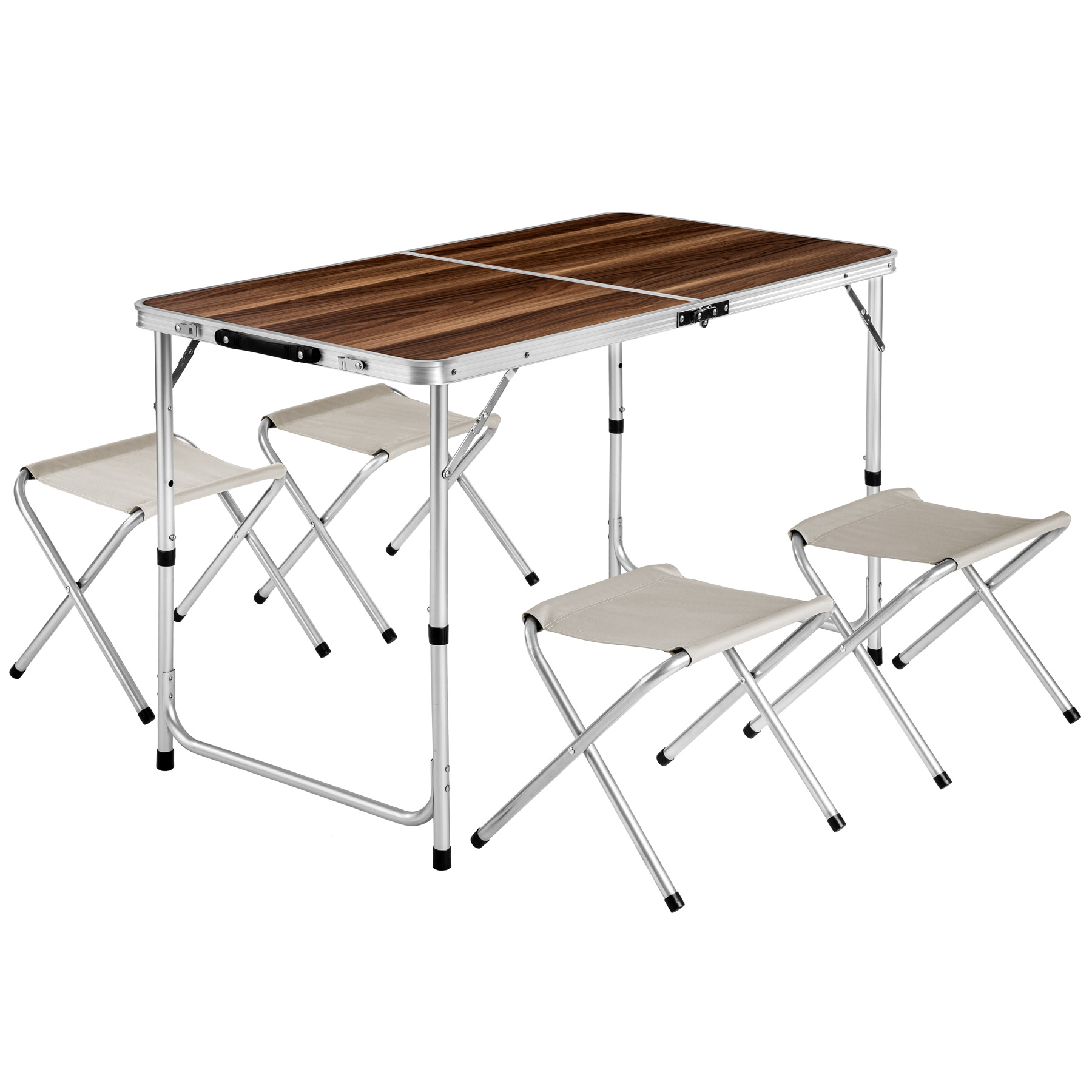 Eensemble table pliante valise avec 4 tabourets camping for Table pliante but