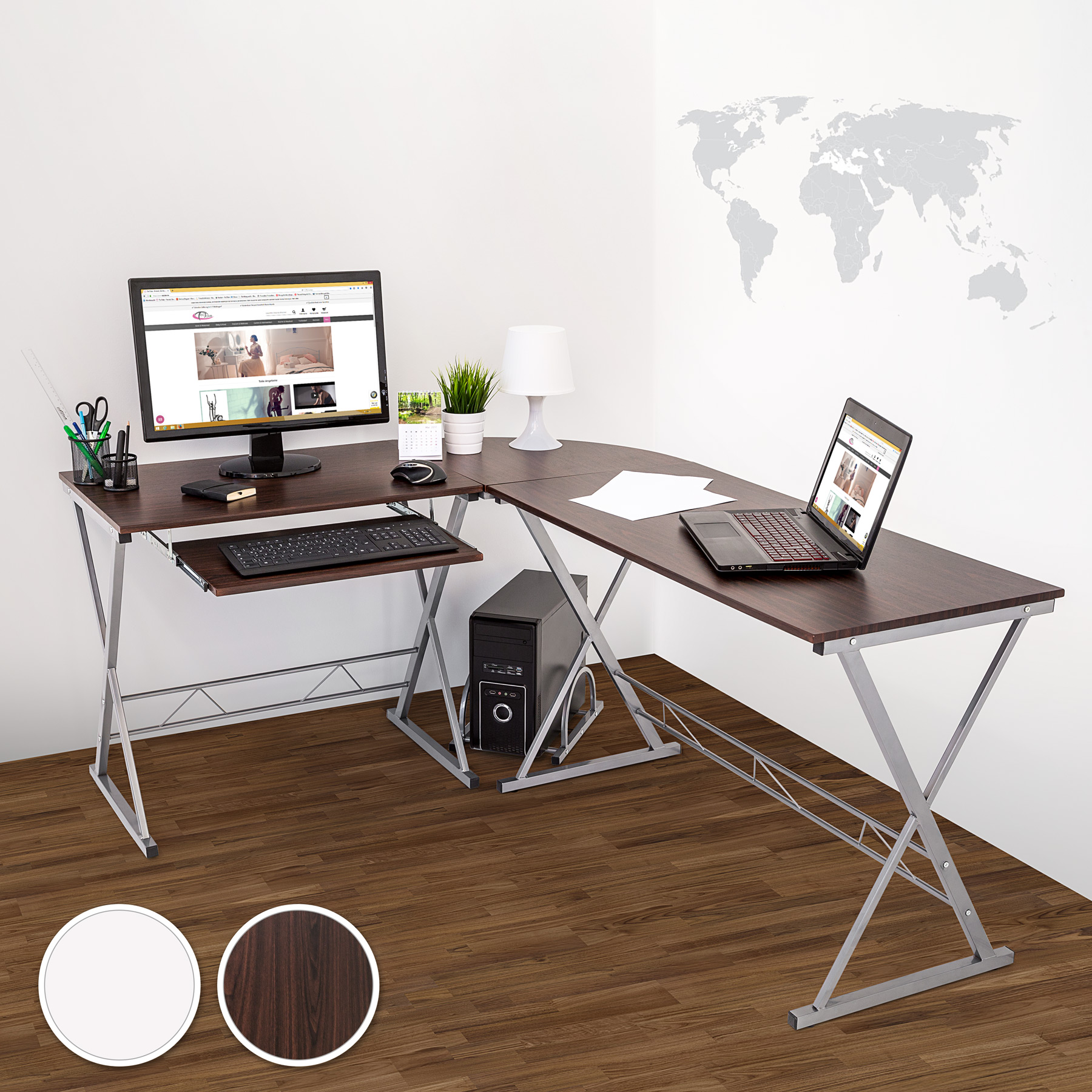 bureau table ordinateur en coin meuble d 39 angle pc poste de travail blanc. Black Bedroom Furniture Sets. Home Design Ideas