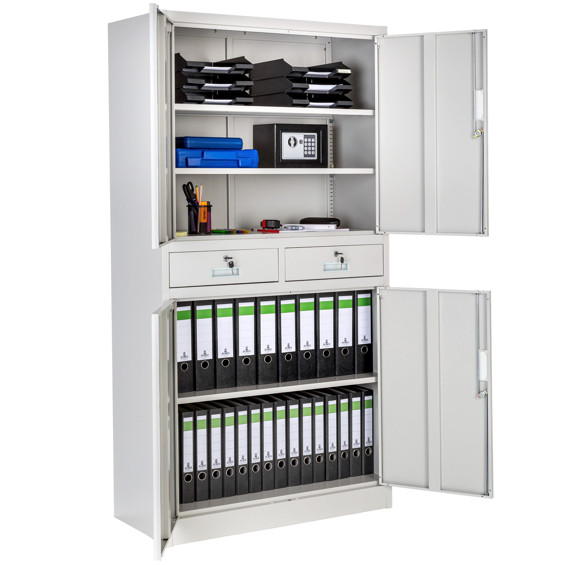 office storage cupboard metal 4 shelves rail tool cabinet furniture 180x90x40cm ebay. Black Bedroom Furniture Sets. Home Design Ideas