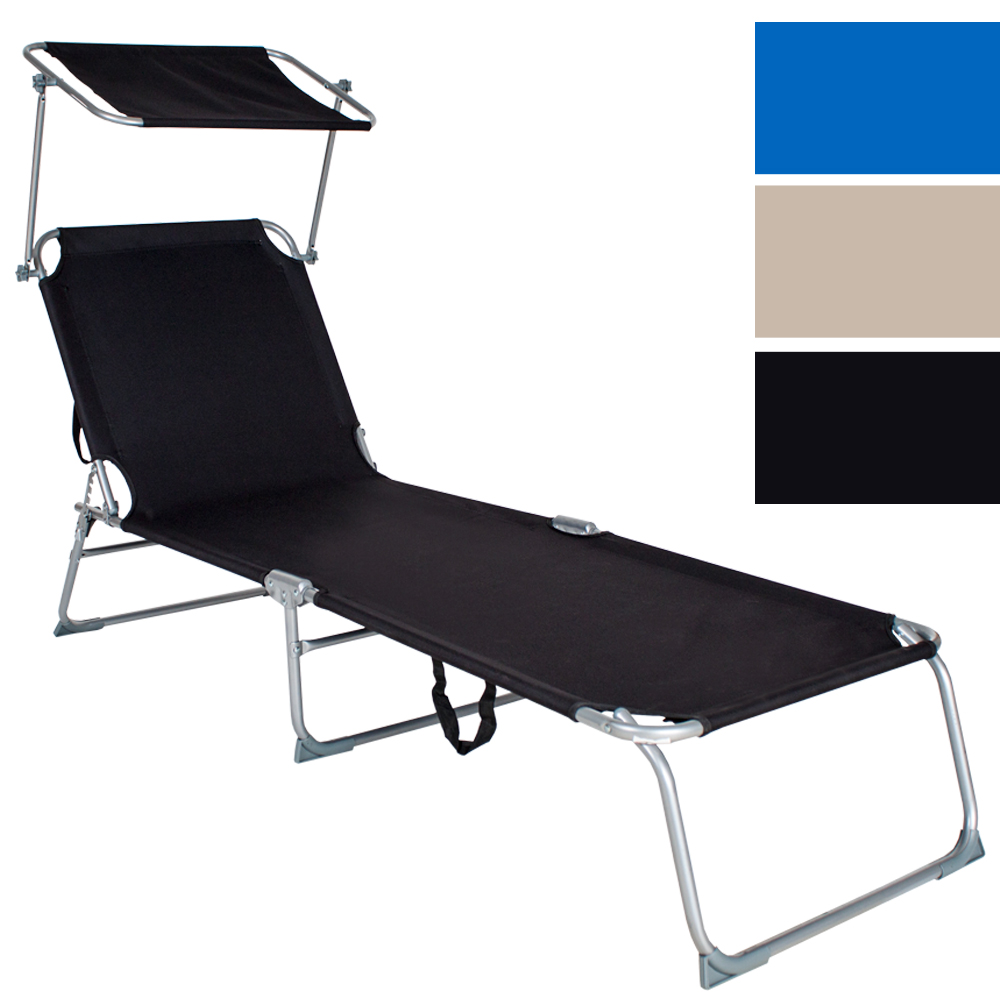chaise longue de jardin pliante transat bain de soleil pare soleil ebay. Black Bedroom Furniture Sets. Home Design Ideas