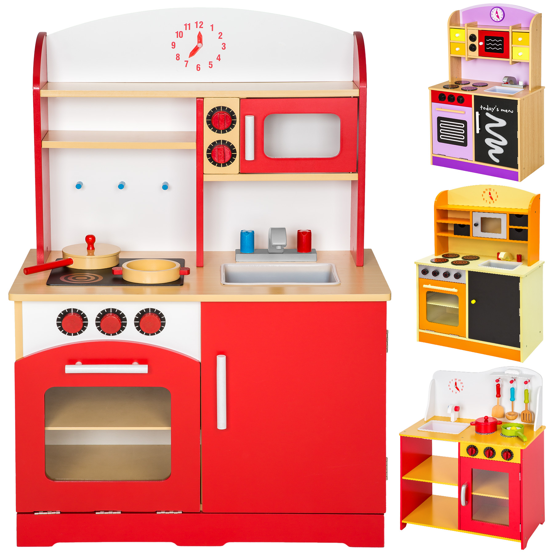 Wooden Childrens Kids Kitchen Pretend Role Play Cooking Toys Learner Set New Ebay