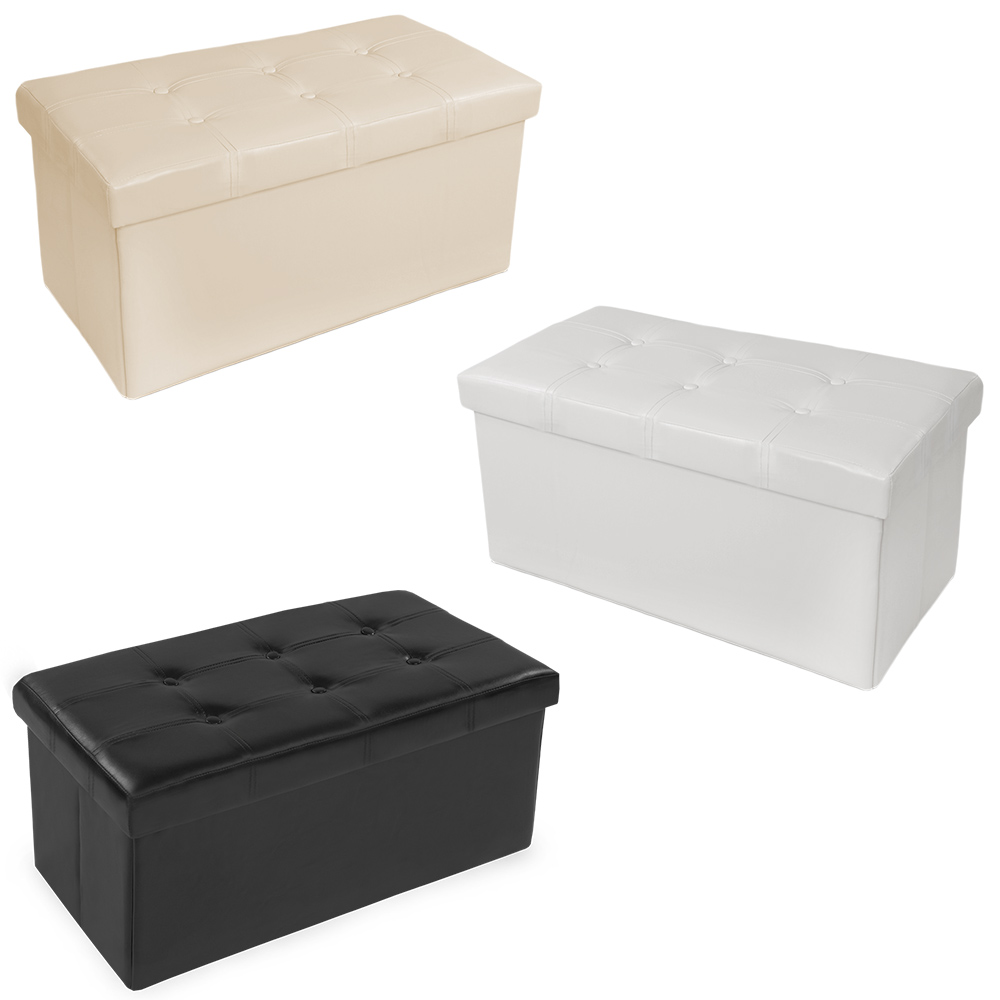Folding Stool Foot Chest Cube Seat Storage Box Pouffe ...
