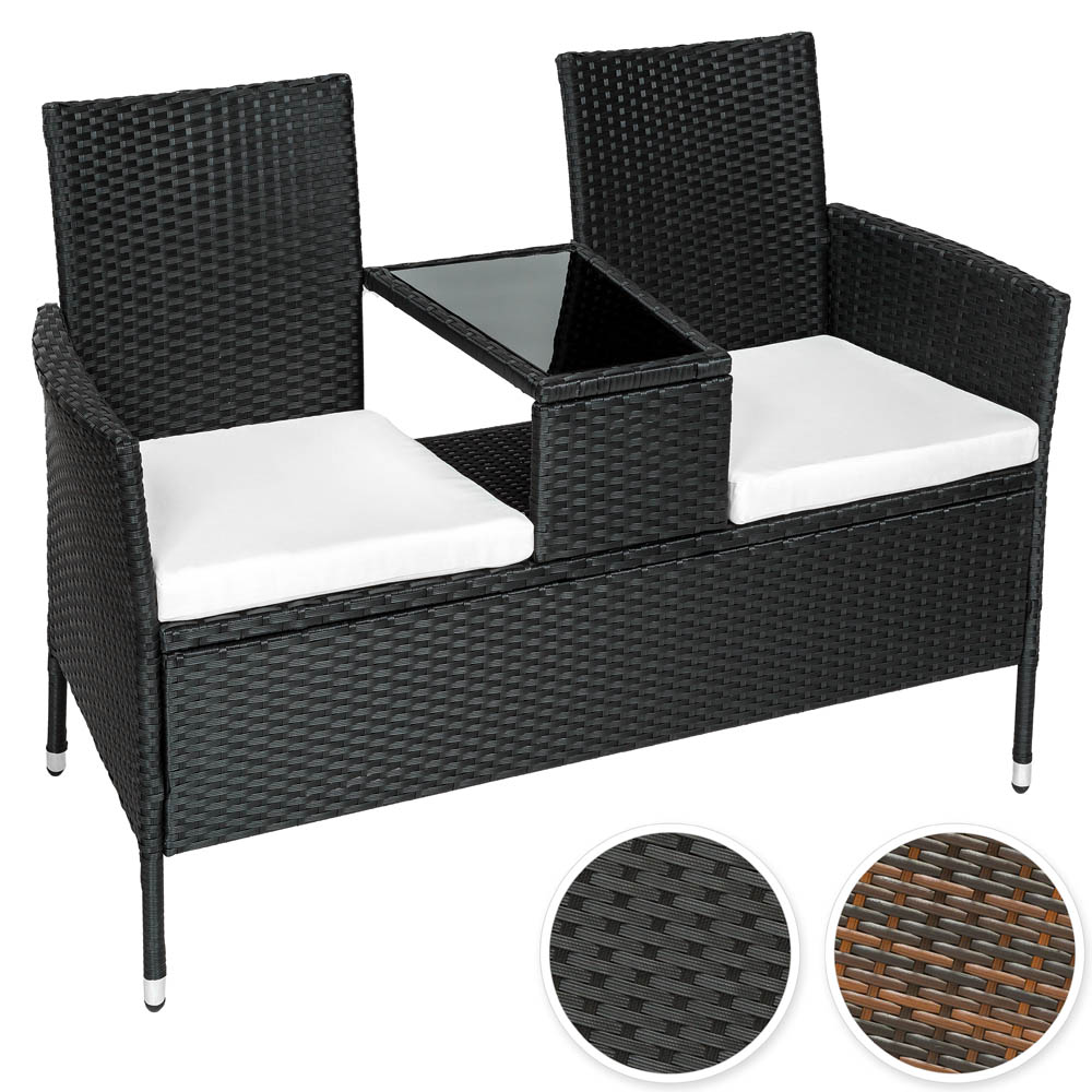 Poly Rattan Bench With Glass Table Garden Furniture 2 Seats Wicker Patio Ebay