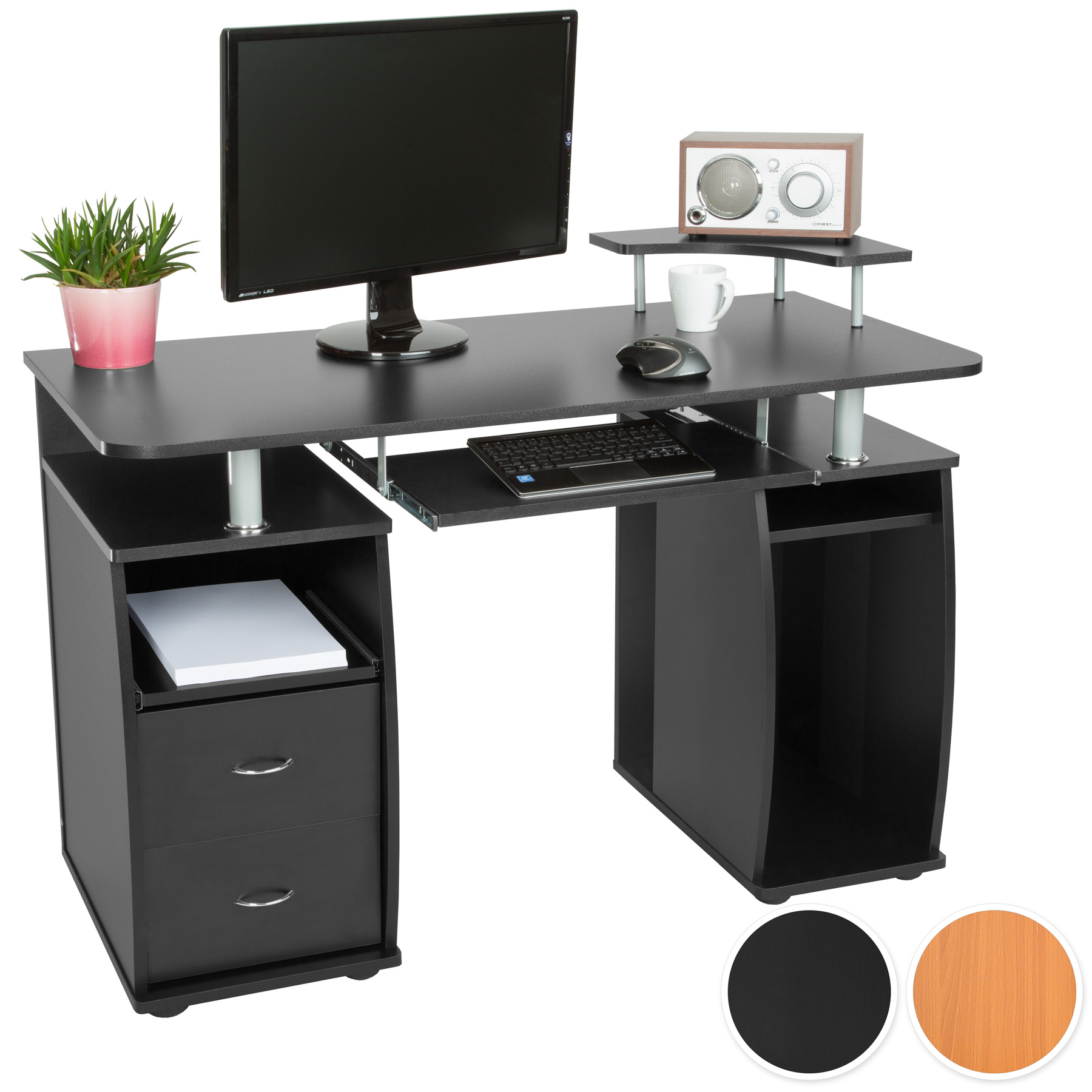 computertisch pc tisch arbeitstisch mit schubladen schreibtisch b rom bel ebay. Black Bedroom Furniture Sets. Home Design Ideas