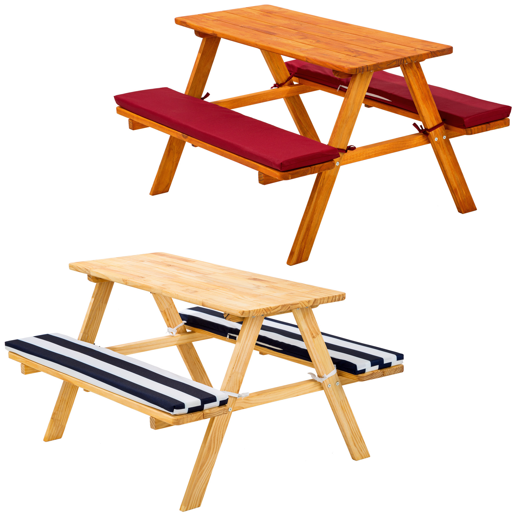 kids picnic table bench set childrens wood garden furniture with cushions. Black Bedroom Furniture Sets. Home Design Ideas