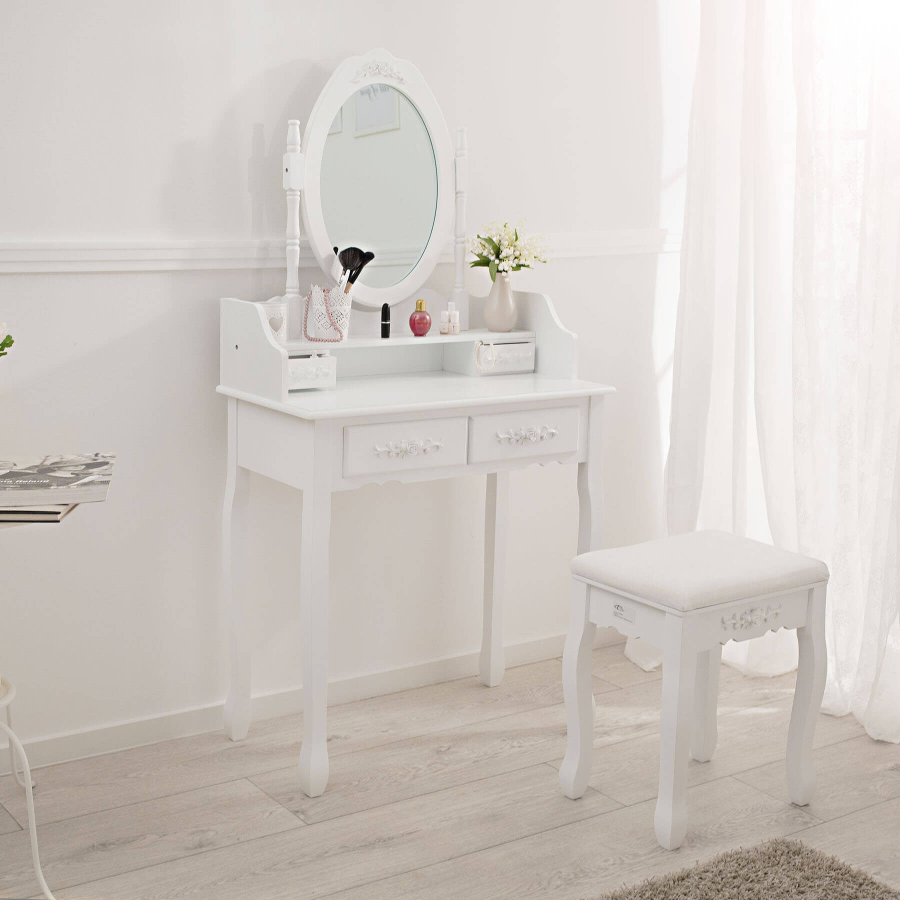 coiffeuse meuble table de maquillage tabouret commode avec miroir 4 tiroir blanc ebay. Black Bedroom Furniture Sets. Home Design Ideas