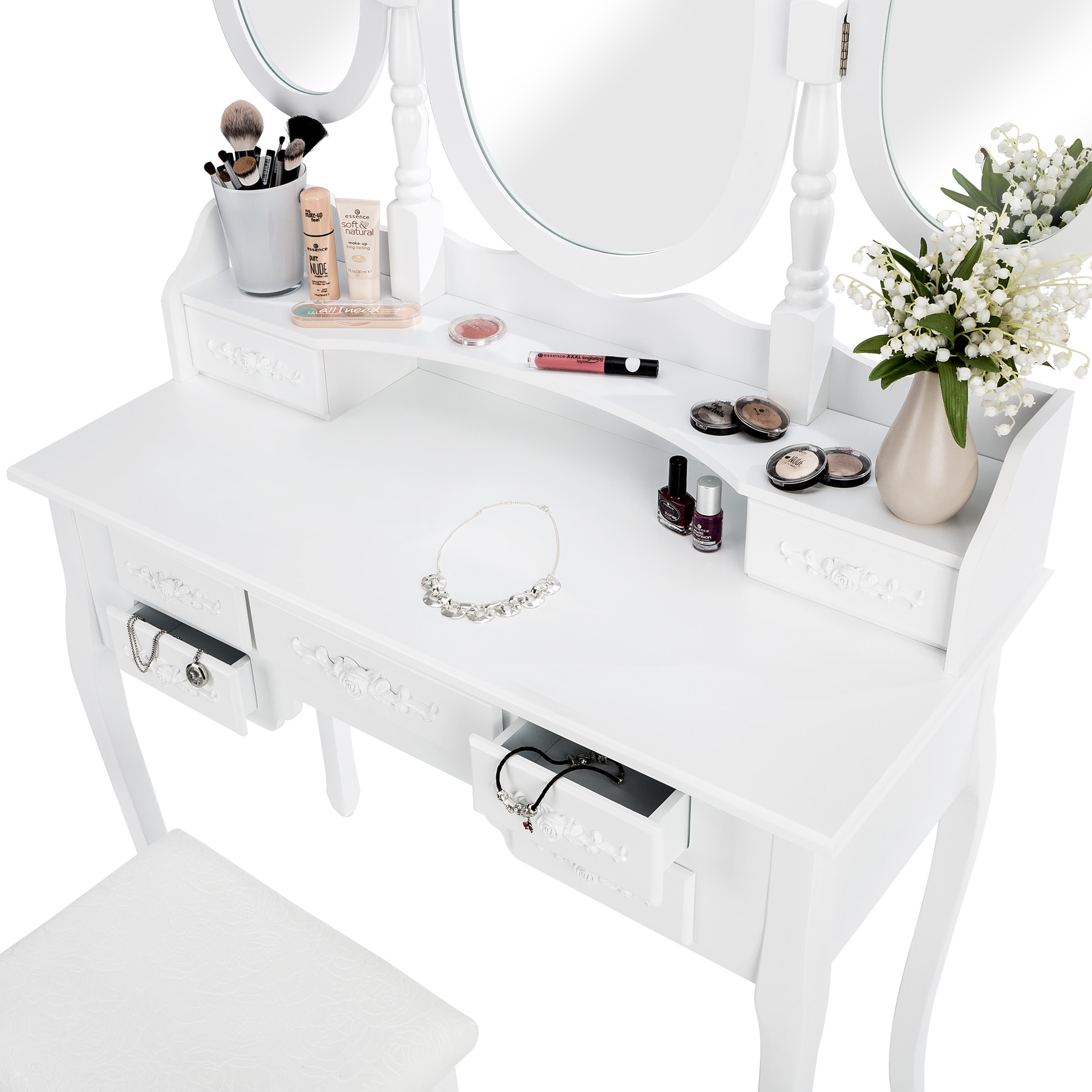coiffeuse meuble table de maquillage tabouret commode avec 3 miroirs blanc ebay. Black Bedroom Furniture Sets. Home Design Ideas